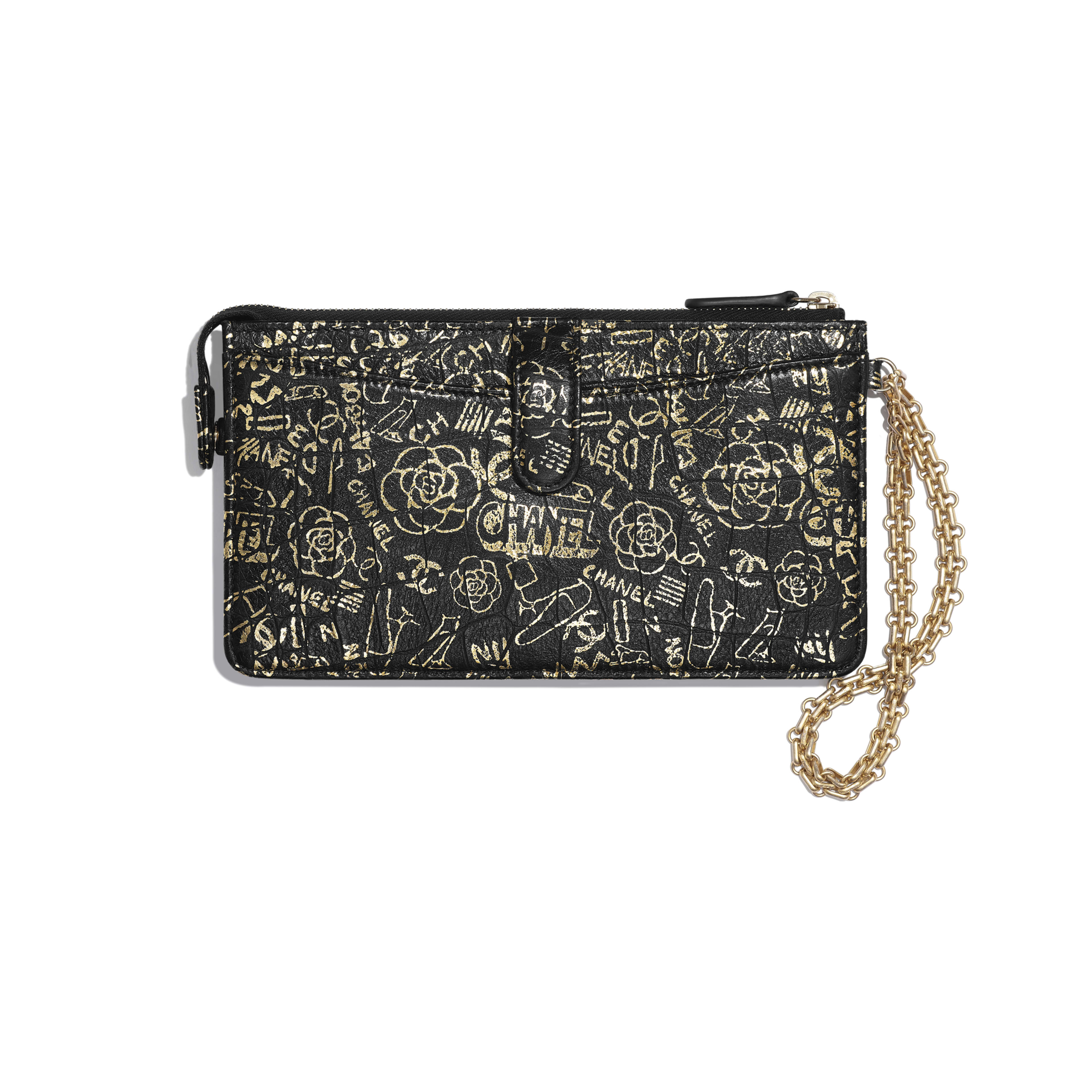 2.55 Pouch With Handle - Black & Gold - Crocodile Embossed Printed Leather & Gold-Tone Metal - Alternative view - see full sized version