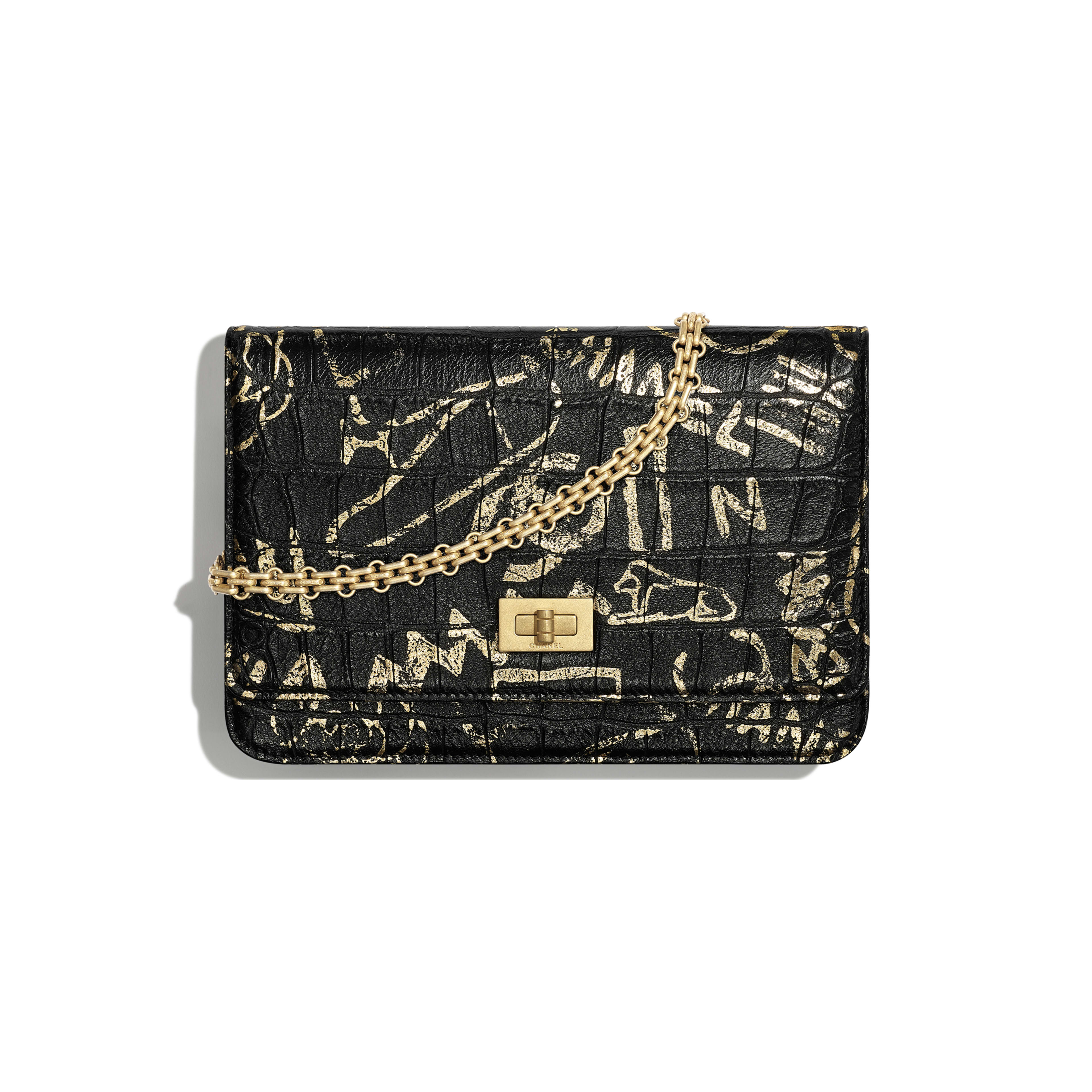 2.55 Wallet on Chain - Black & Gold - Crocodile Embossed Printed Leather & Gold-Tone Metal - Default view - see full sized version