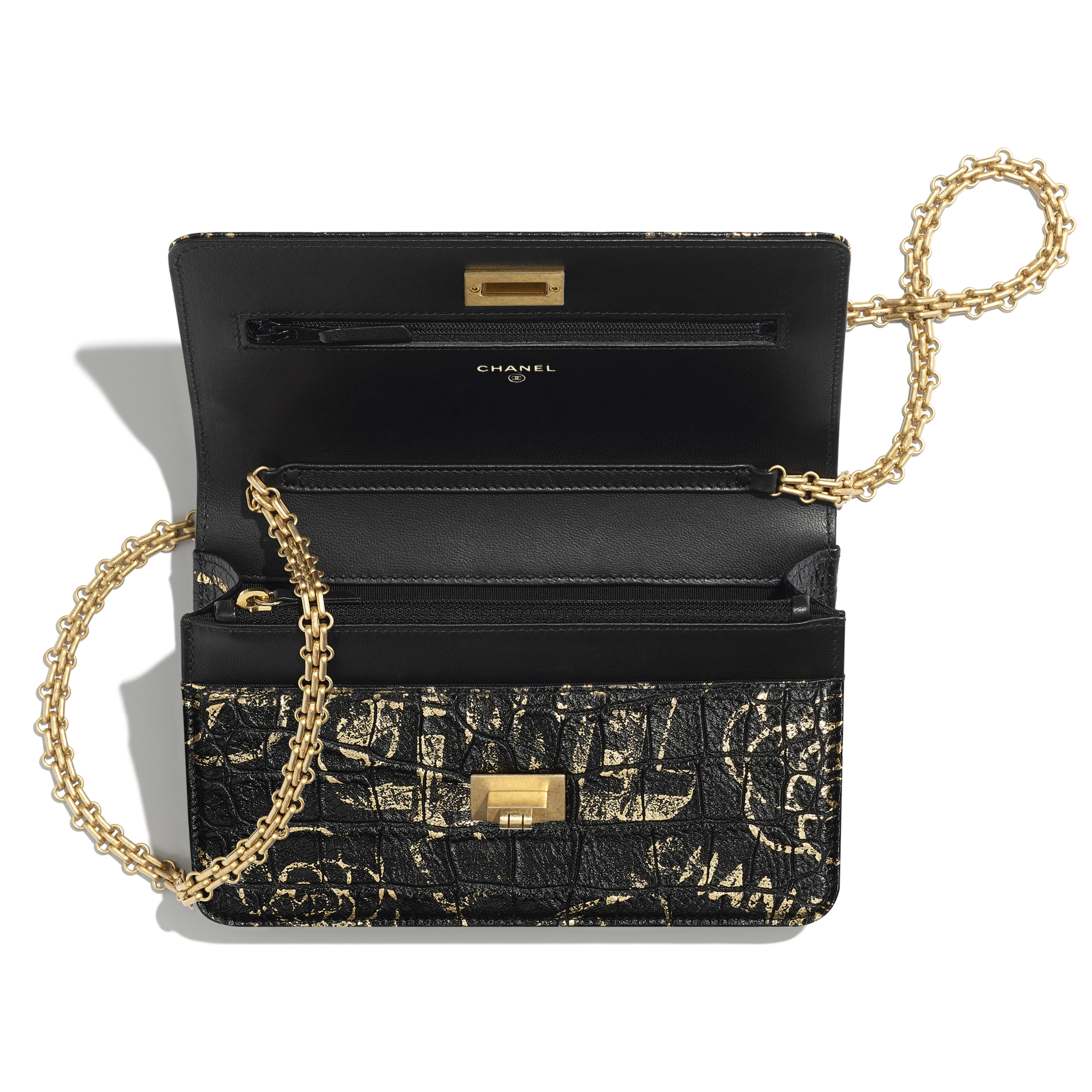 2.55 Wallet on Chain - Black & Gold - Crocodile Embossed Printed Leather & Gold-Tone Metal - Other view - see full sized version