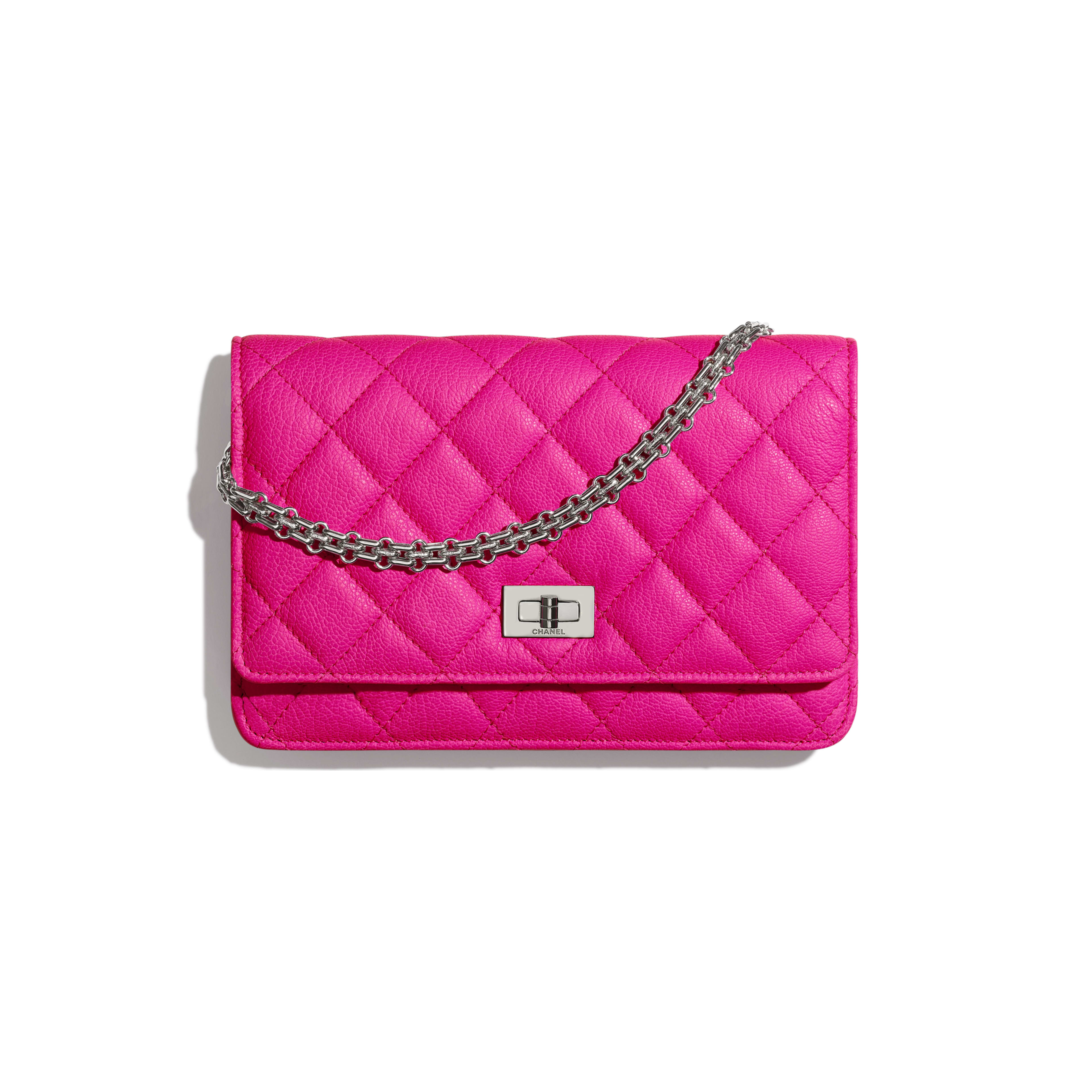 2.55 Wallet on Chain - Pink - Goatskin & Silver-Tone Metal - Default view - see full sized version