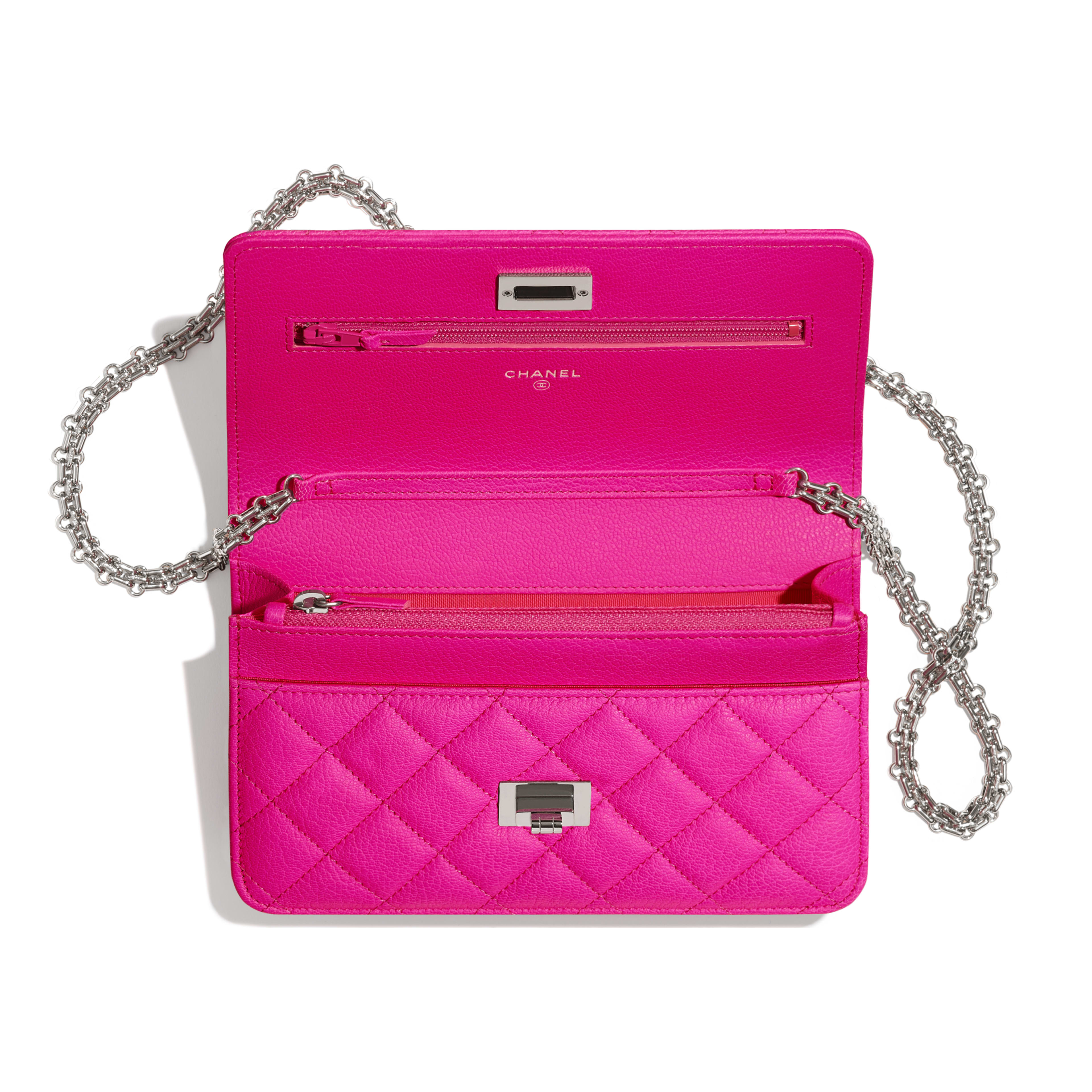 2.55 Wallet on Chain - Pink - Goatskin & Silver-Tone Metal - Other view - see full sized version
