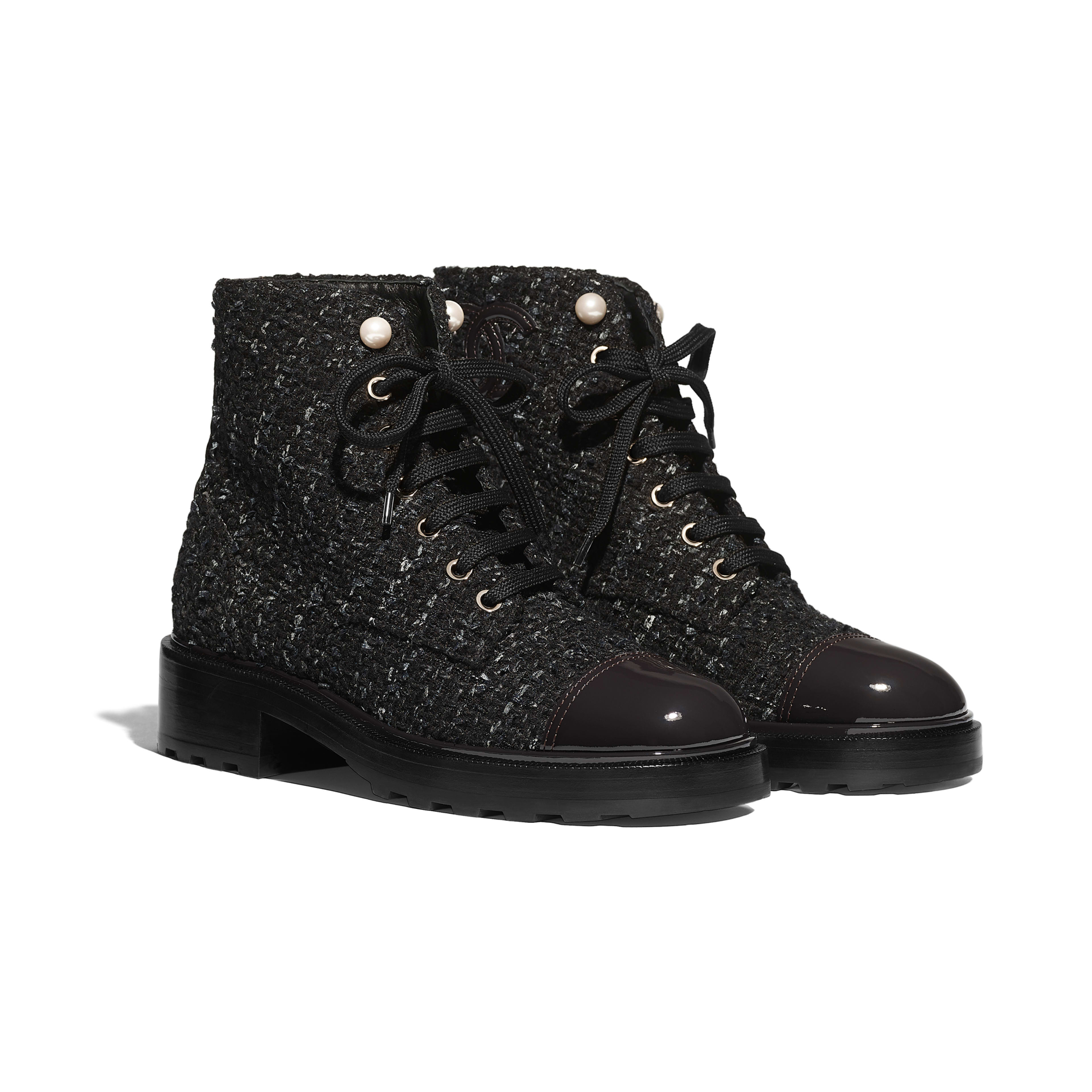Ankle Boots - Black, Blue & Gray - Tweed & Patent Calfskin - Alternative view - see full sized version