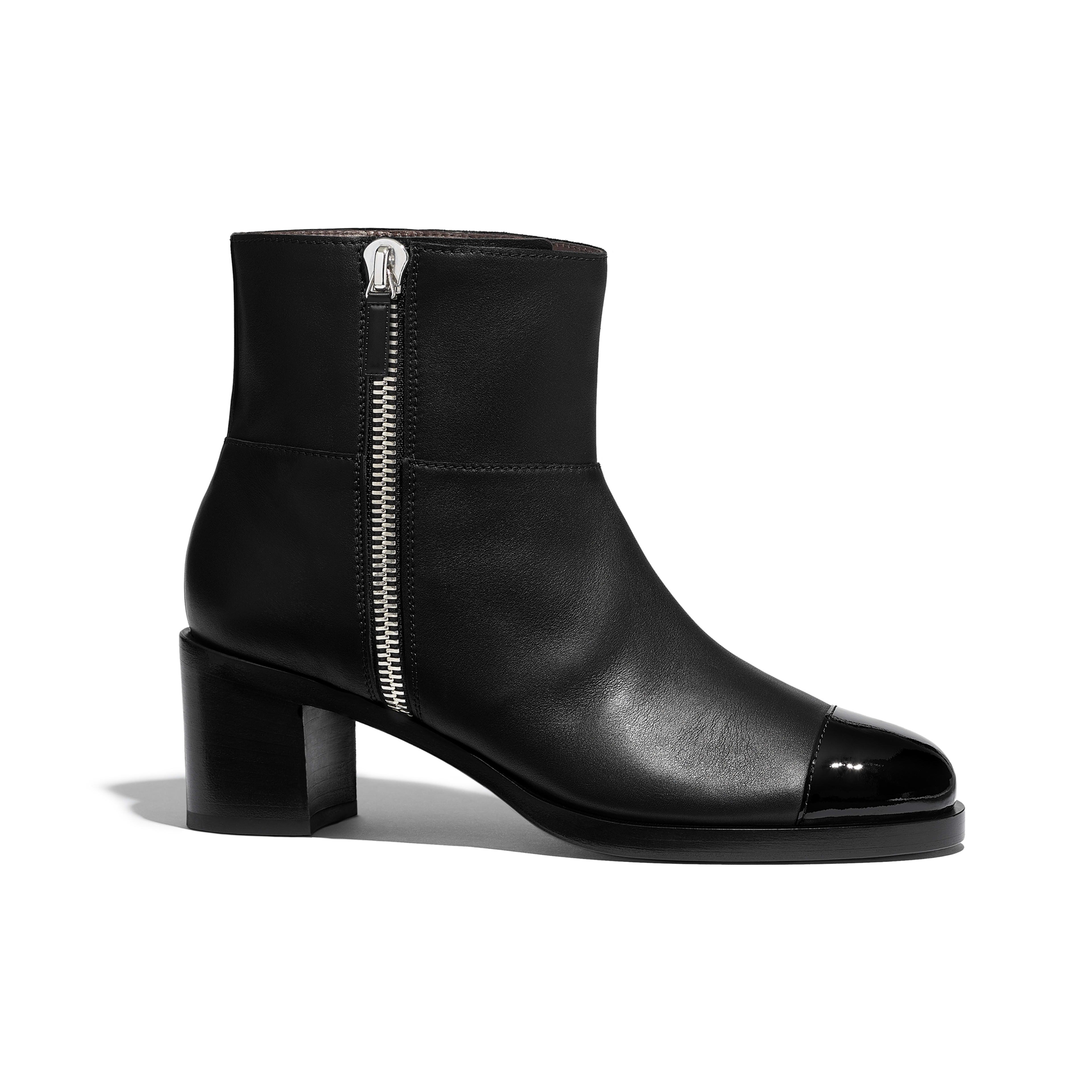 Ankle Boots - Black - Calfskin & Patent Calfskin - Default view - see full sized version