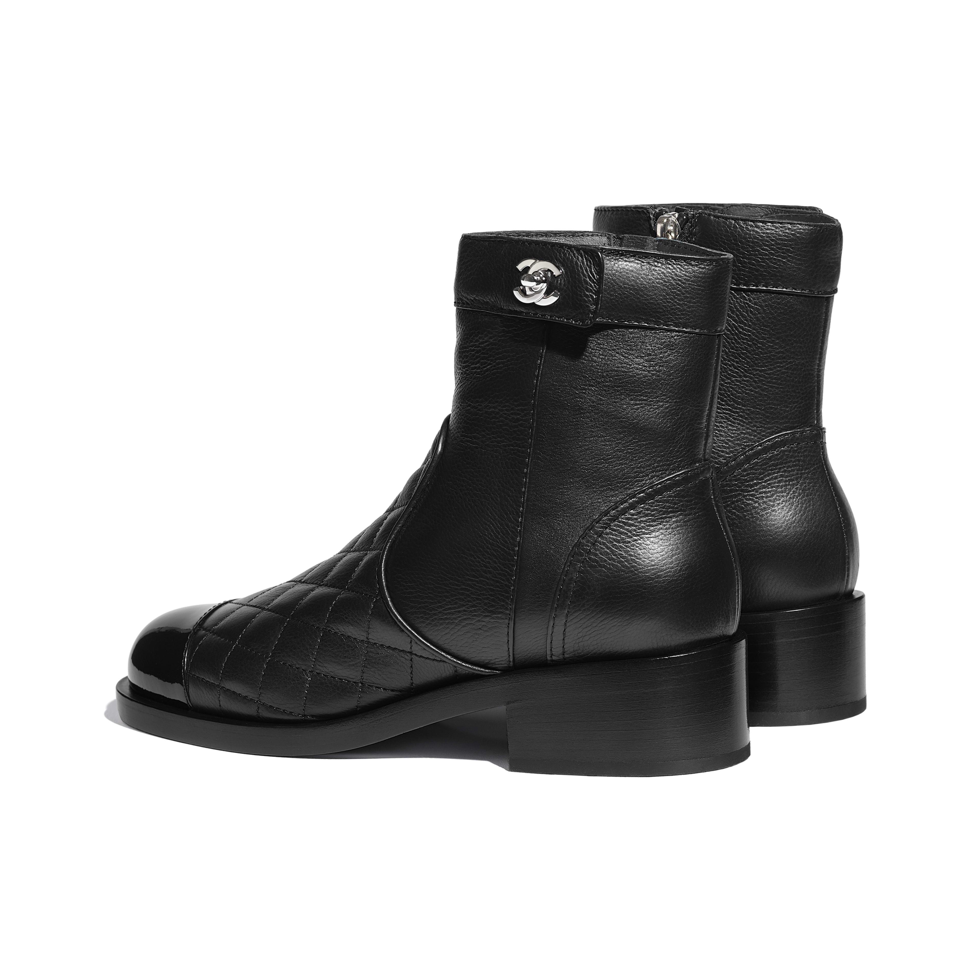 Calfskin \u0026 Patent Calfskin Black Ankle