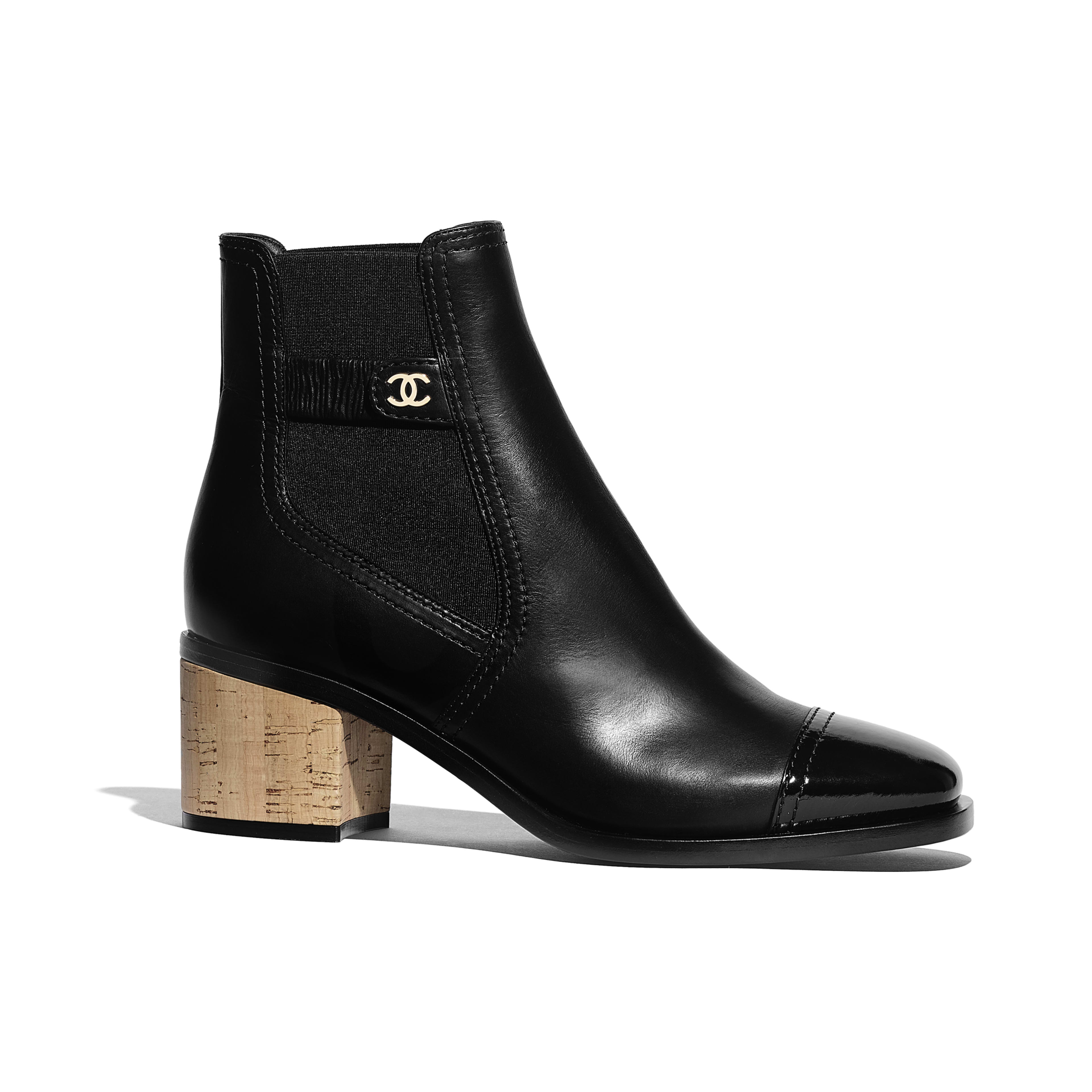 Ankle Boots - Black - Calfskin, Patent Calfskin & Cork - Default view - see full sized version