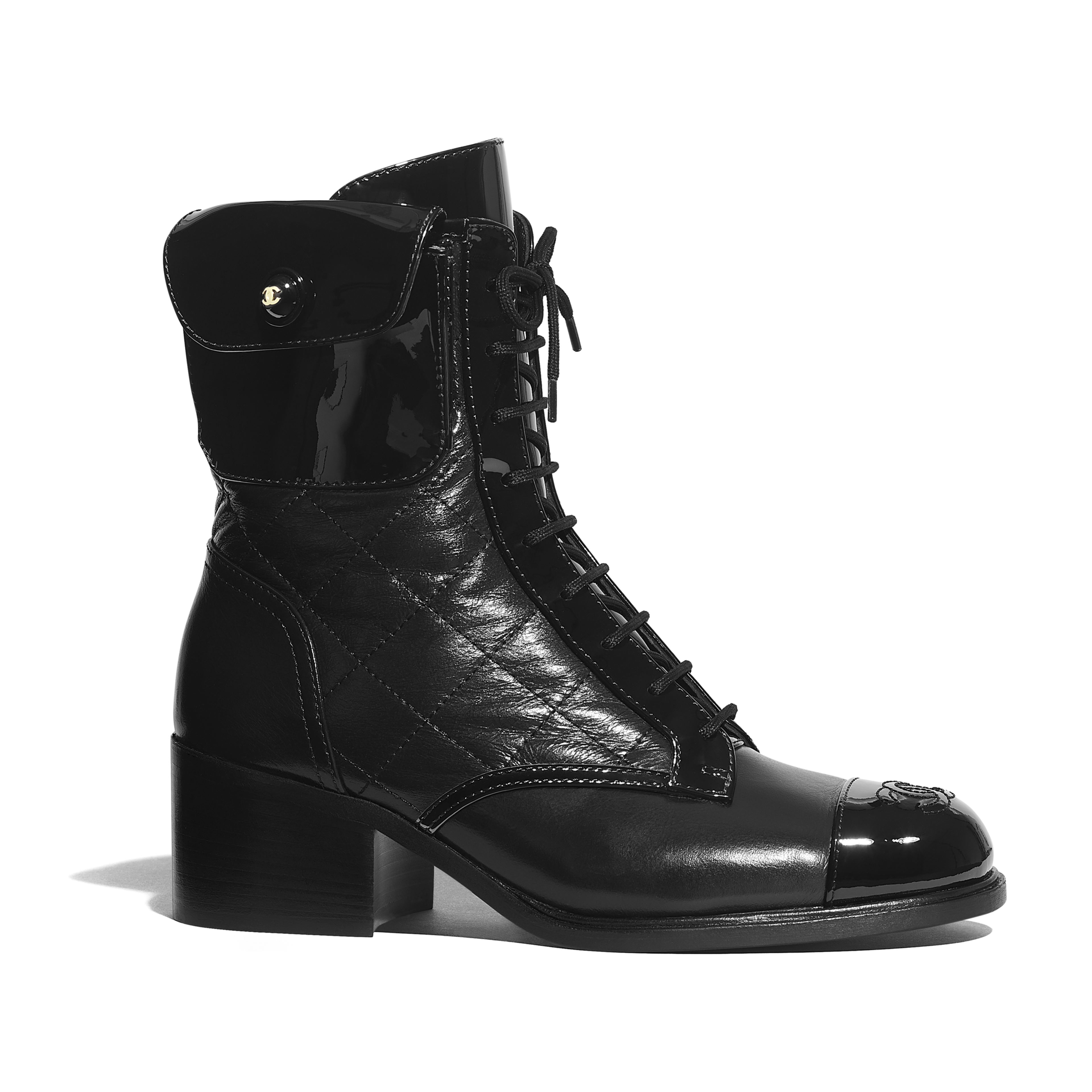 Ankle Boots - Black - Patent Calfskin & Crumpled Calfskin - Default view - see full sized version