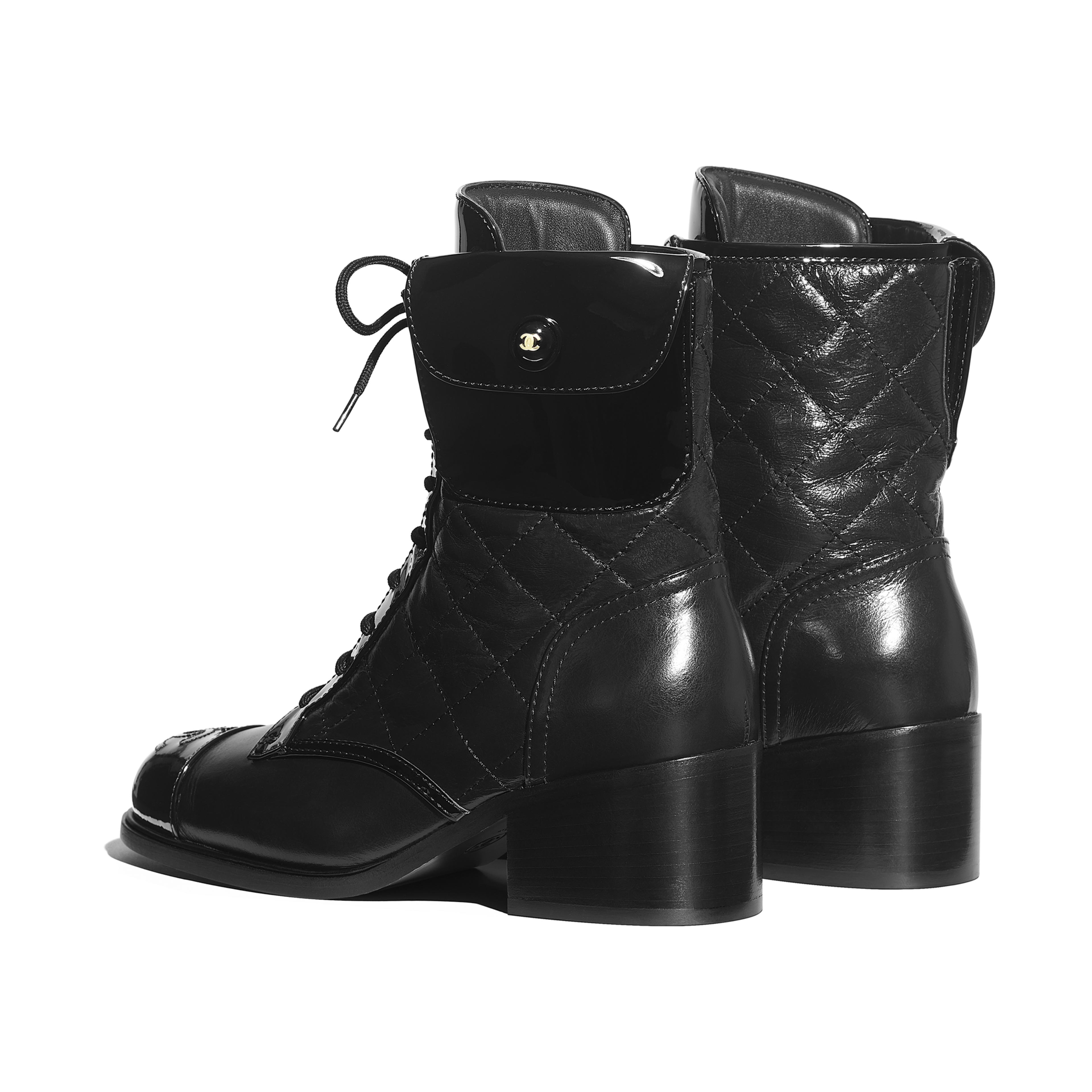 Ankle Boots - Black - Patent Calfskin & Crumpled Calfskin - Other view - see full sized version