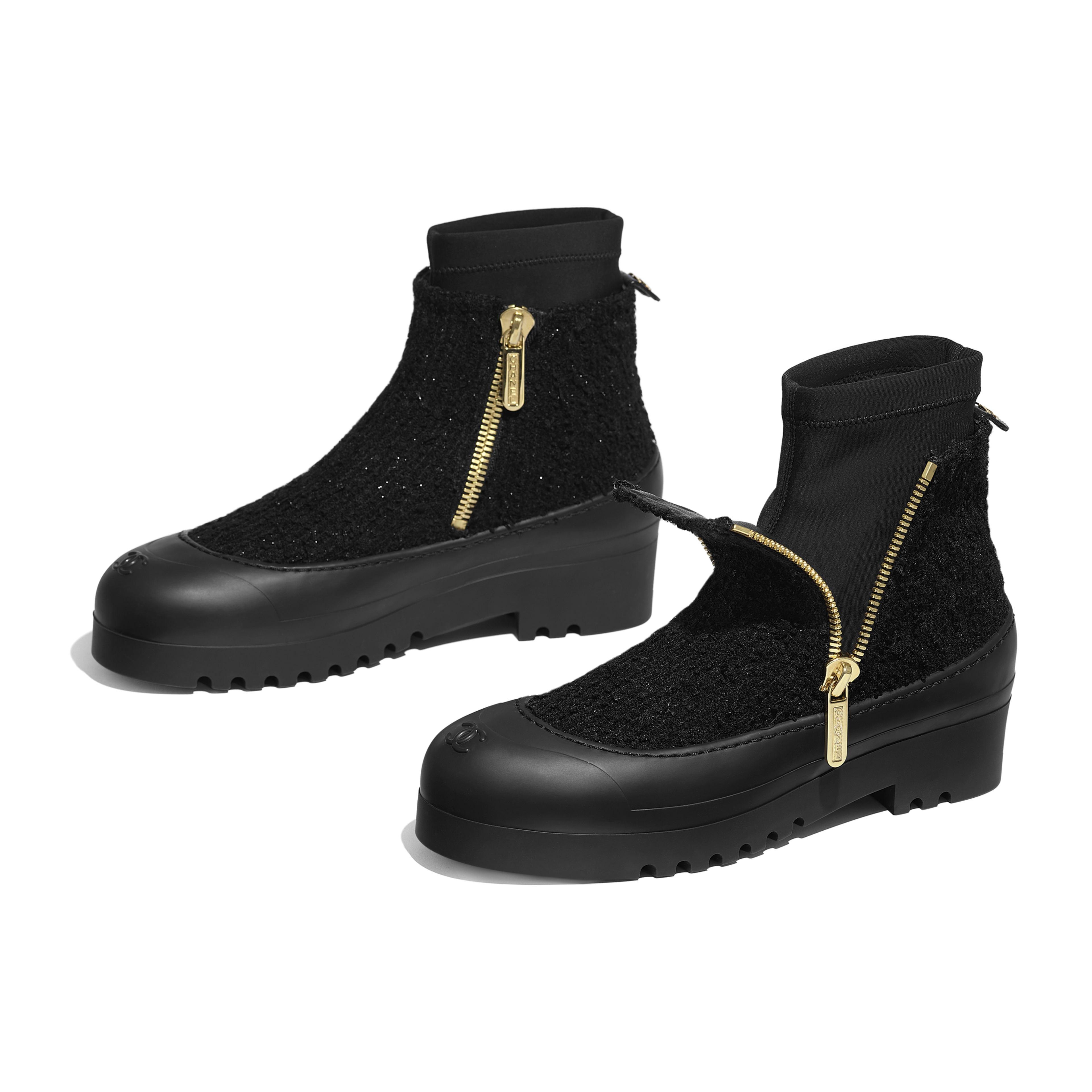 รองเท้าบู้ทสั้น - สีดำ - ผ้าทวีต - มุมมองพิเศษ - ดูเวอร์ชันขนาดเต็ม