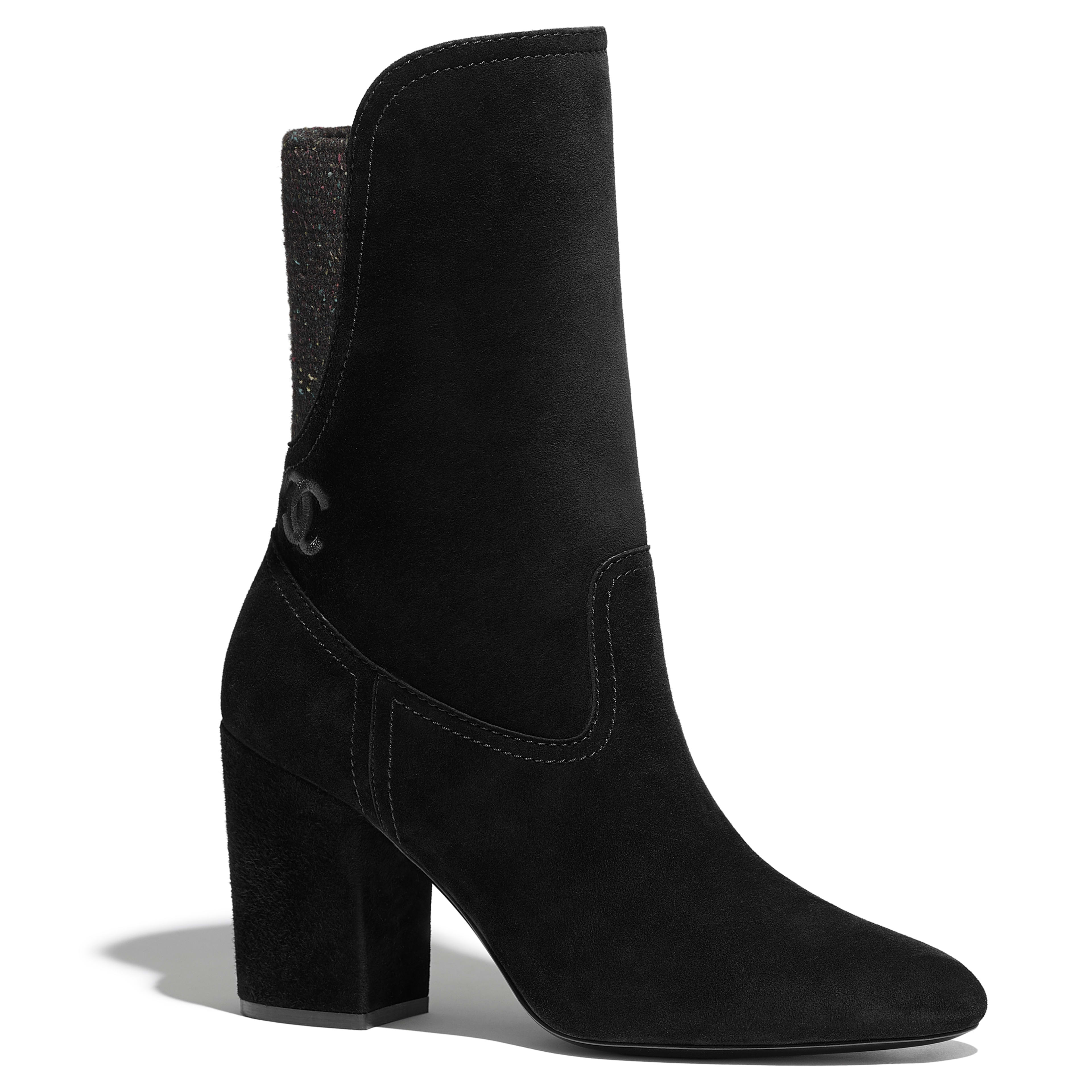 Ankle Boots - Black - Velvet Calfskin & Mixed Fibers - Default view - see full sized version
