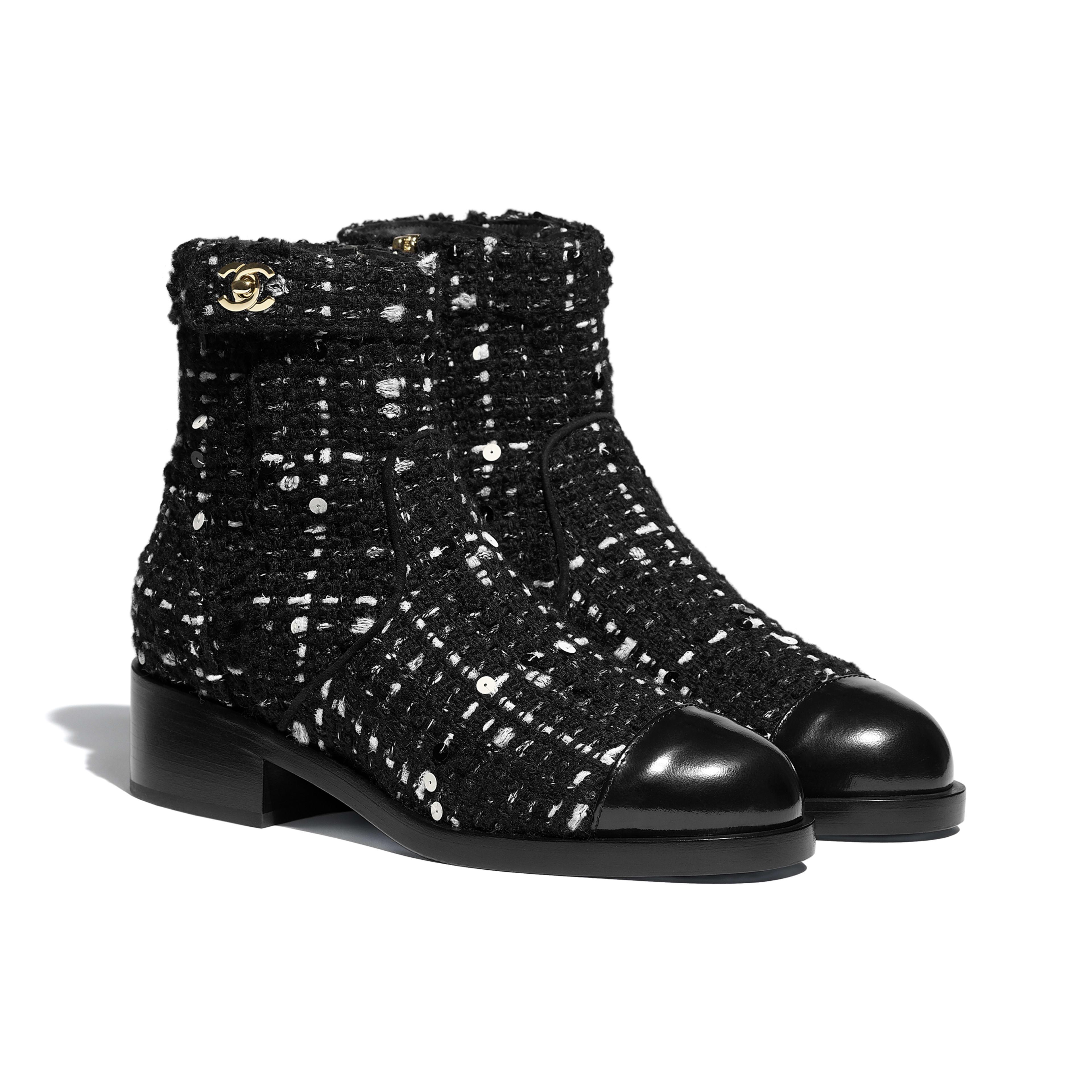 Calfskin Black \u0026 White Ankle Boots | CHANEL