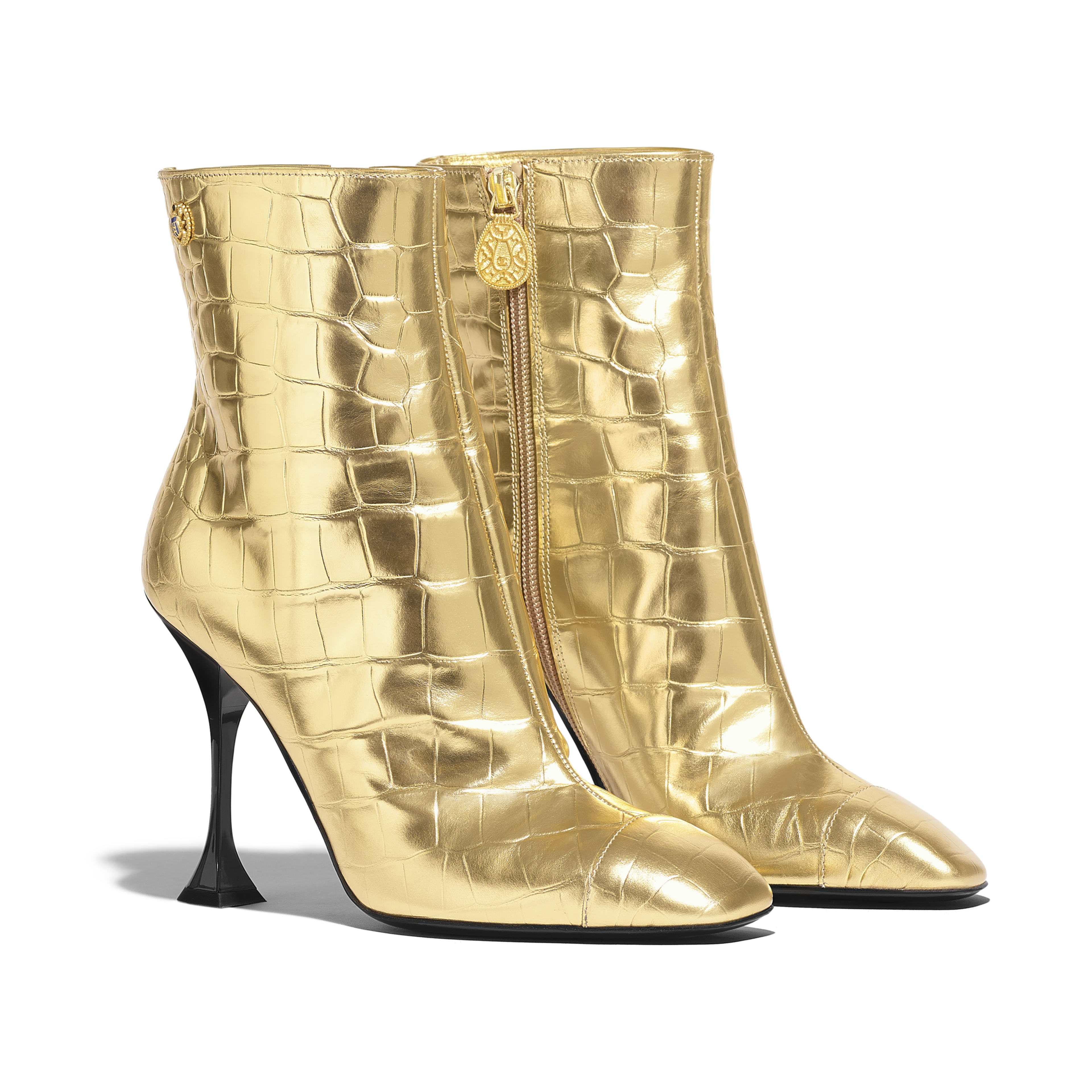 Ankle Boots - Gold - Crocodile Embossed Metallic Calfskin - Alternative view - see full sized version