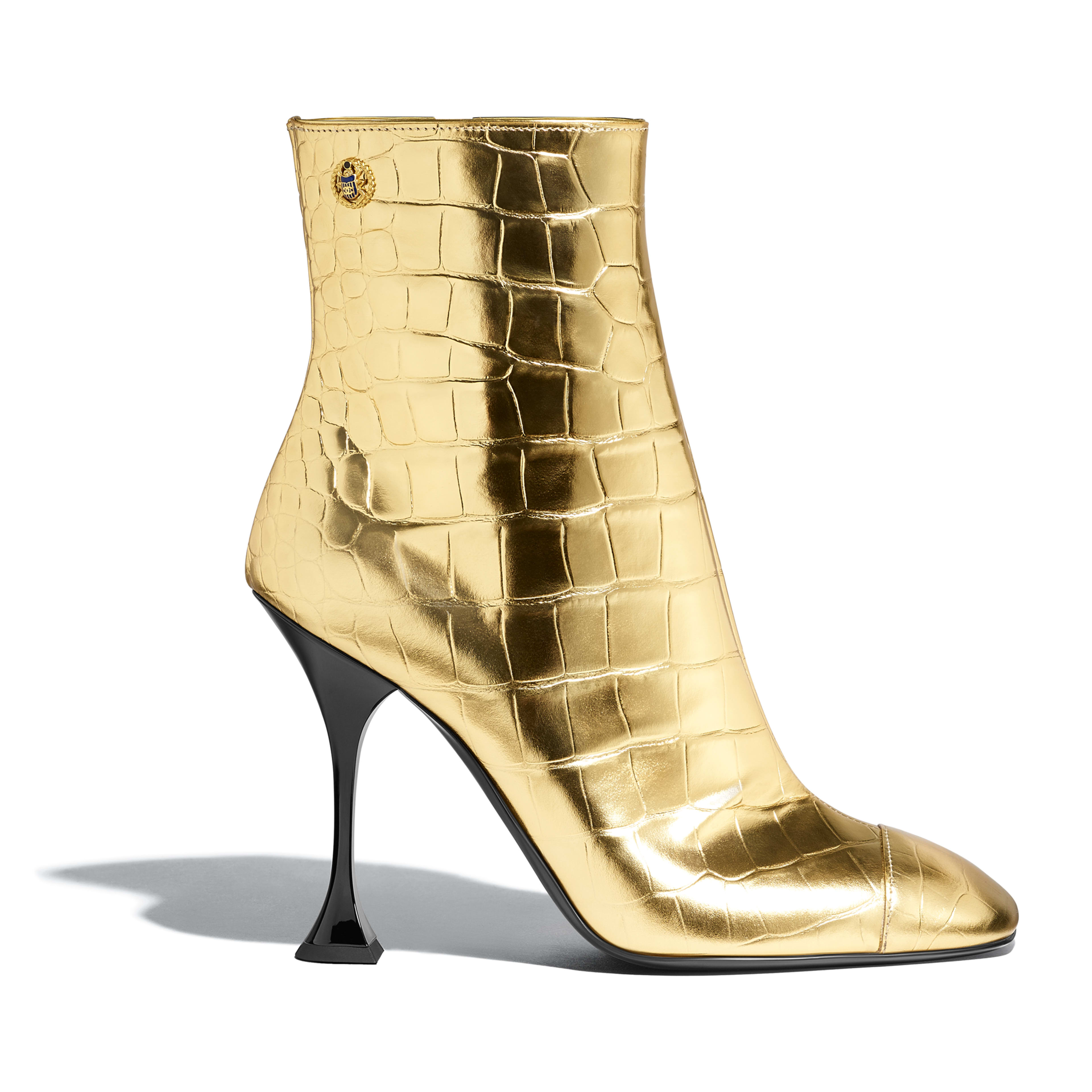 Ankle Boots - Gold - Crocodile Embossed Metallic Calfskin - Default view - see full sized version