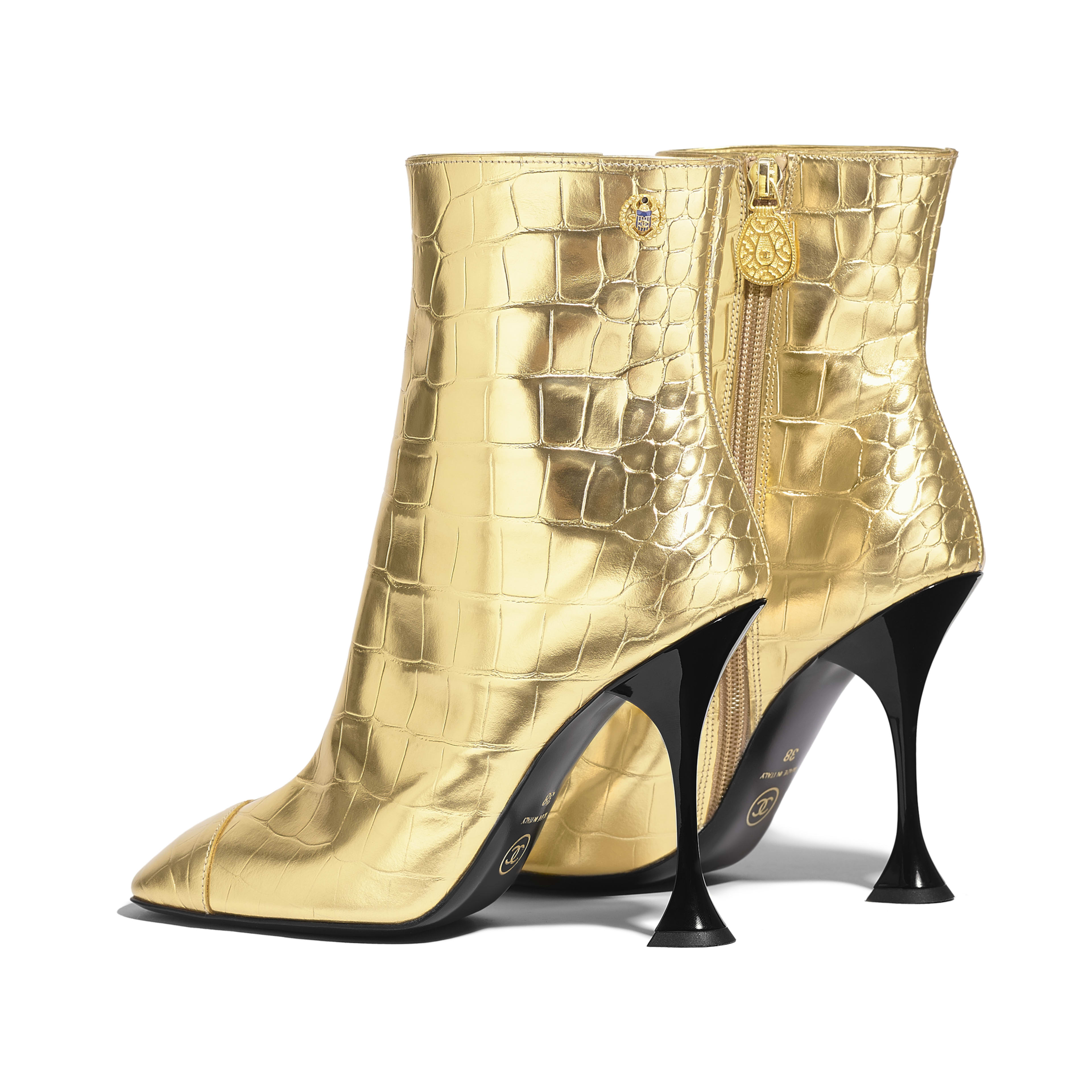 Ankle Boots - Gold - Crocodile Embossed Metallic Calfskin - Other view - see full sized version