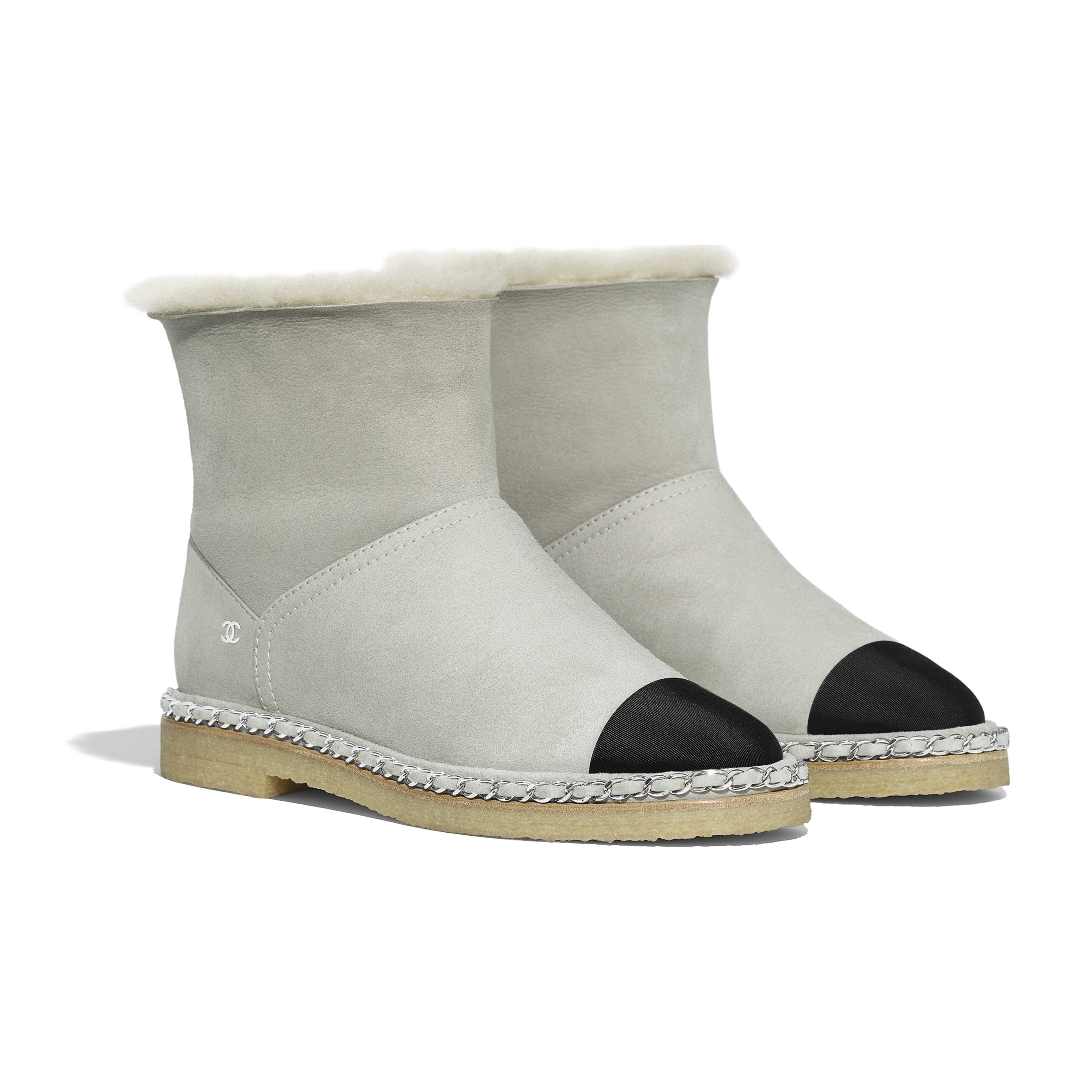 Ankle Boots - Gray & Black - Shearling Lambskin & Grosgrain - Alternative view - see full sized version