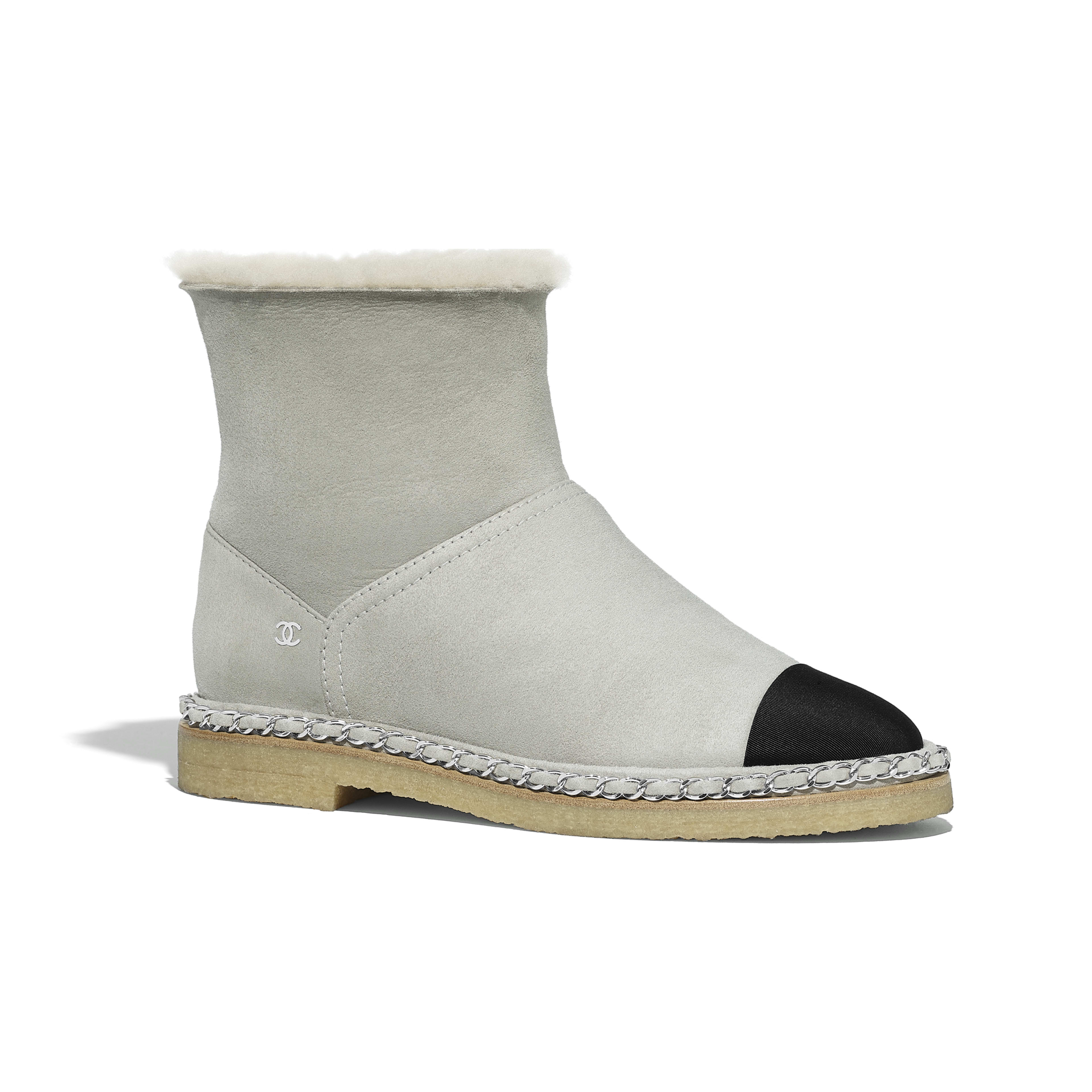 Ankle Boots - Gray & Black - Shearling Lambskin & Grosgrain - Default view - see full sized version