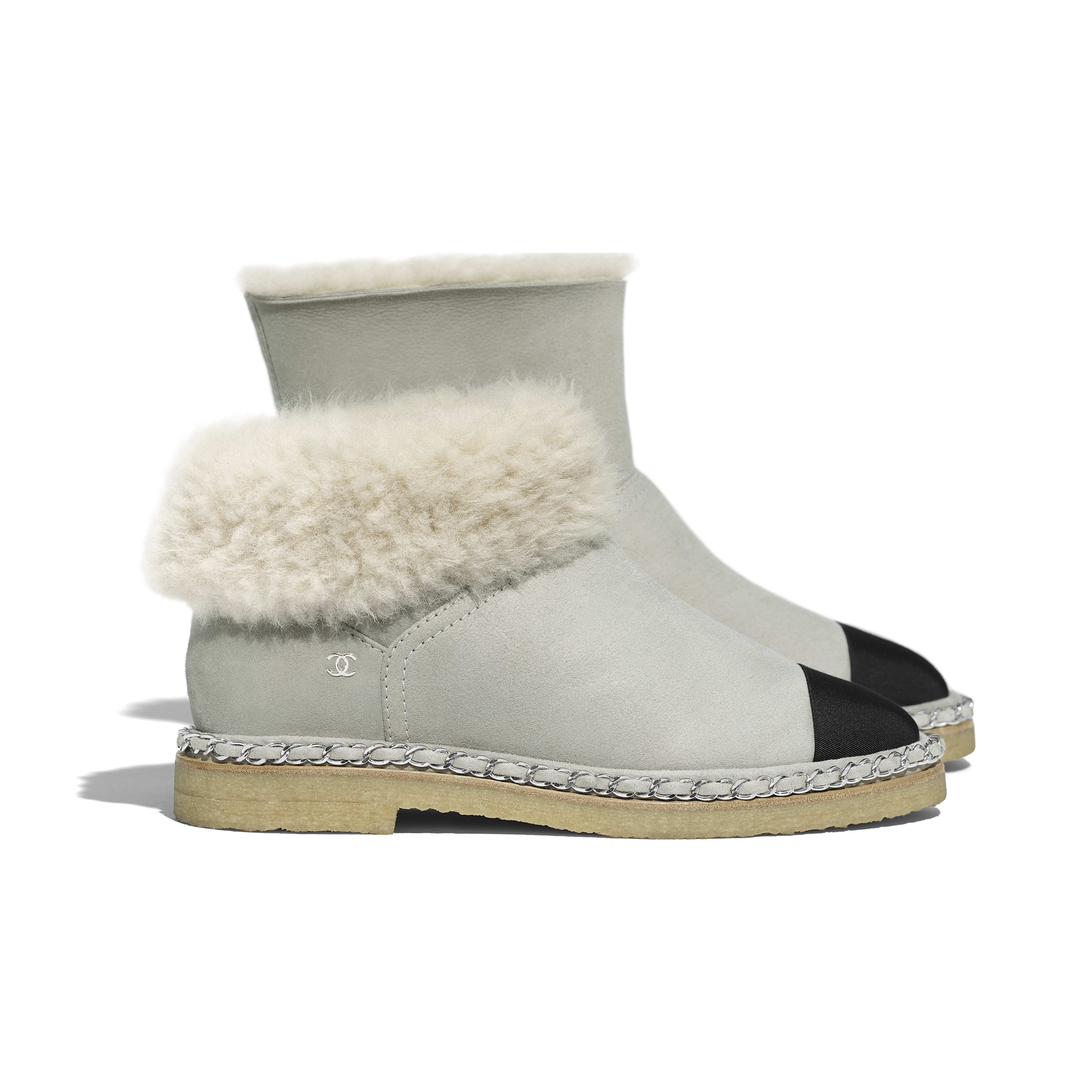 Ankle Boots - Gray & Black - Shearling Lambskin & Grosgrain - Extra view - see full sized version