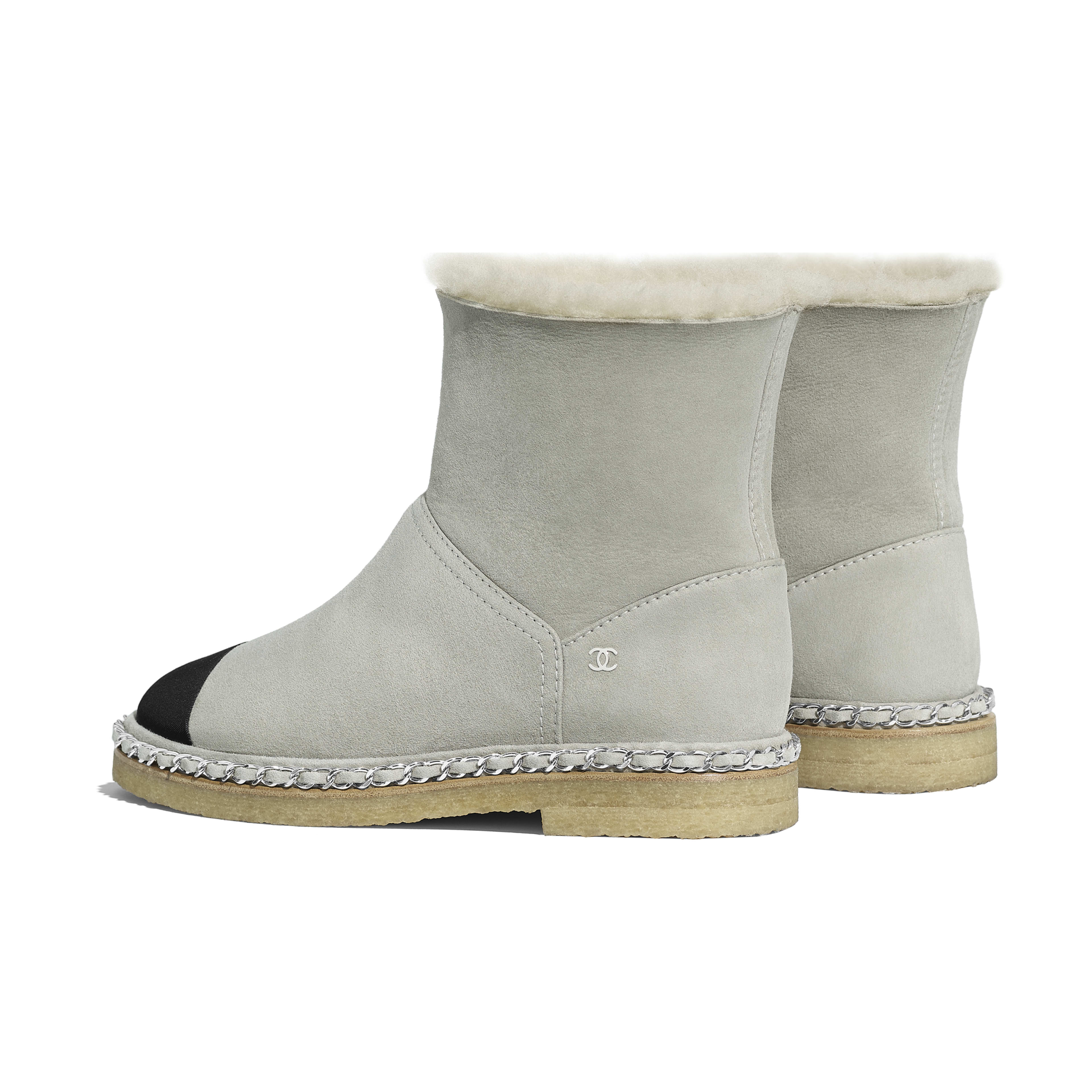 Ankle Boots - Gray & Black - Shearling Lambskin & Grosgrain - Other view - see full sized version