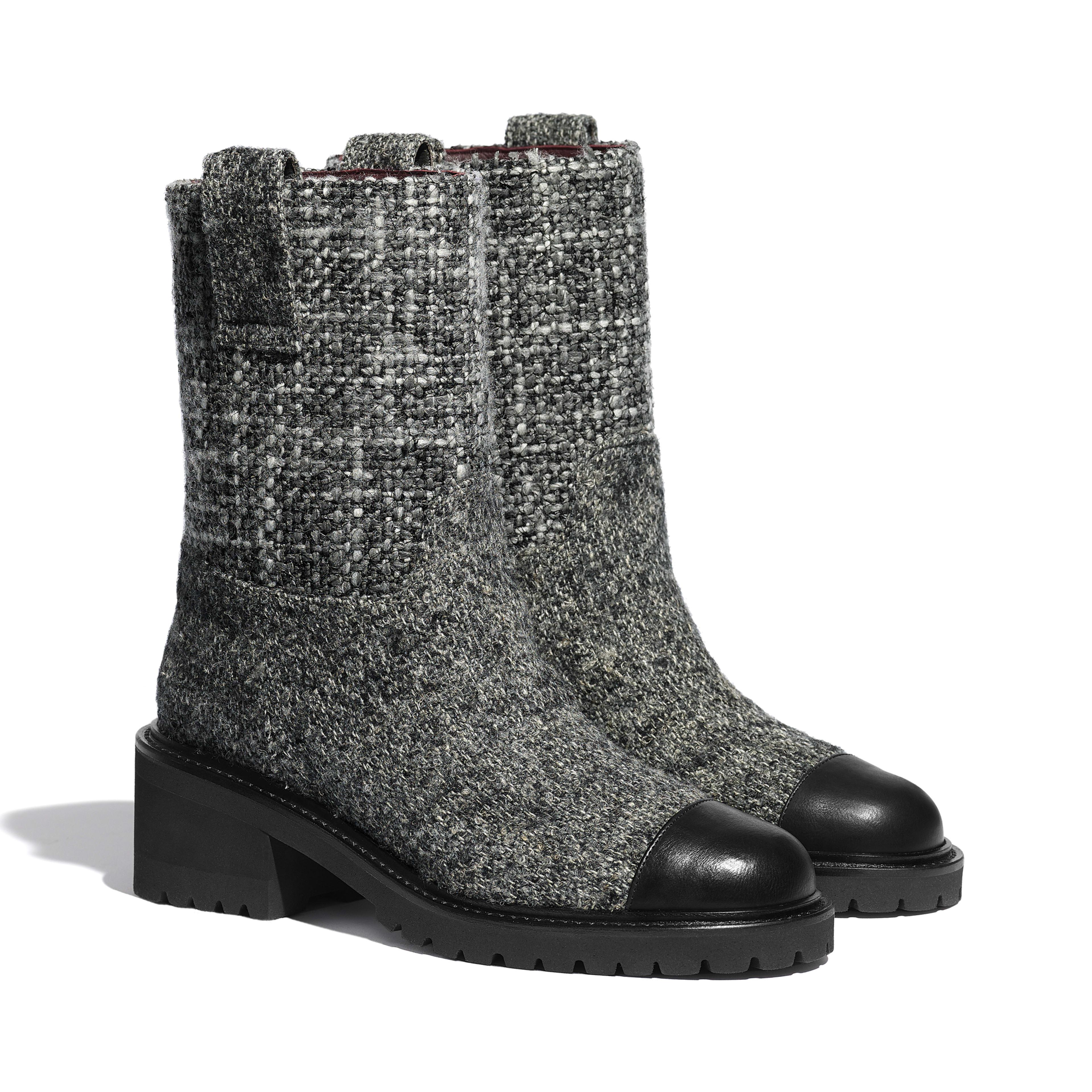Calfskin Gray \u0026 Black Ankle Boots | CHANEL