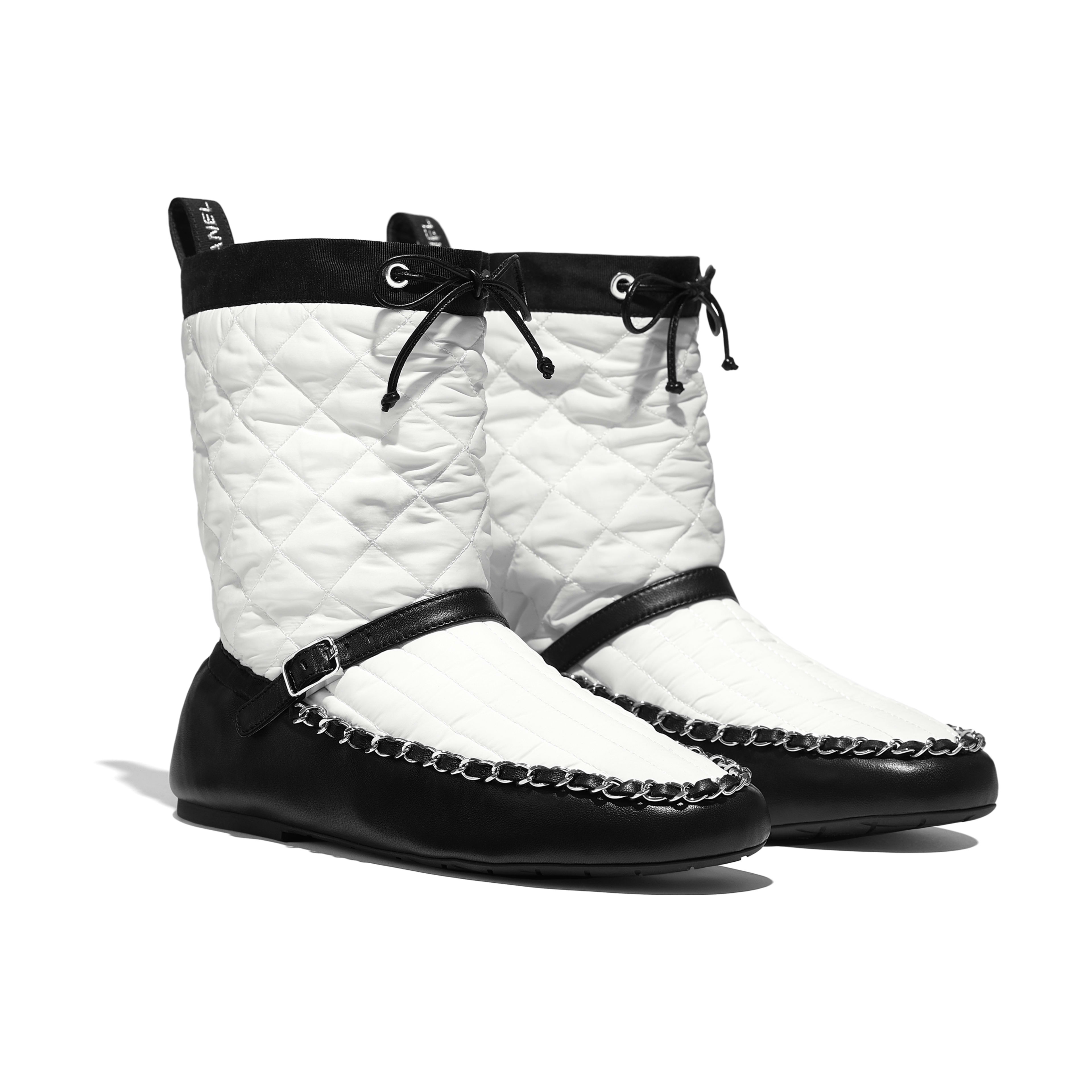 Ankle Boots - White & Black - Fabric & Lambskin - Alternative view - see full sized version