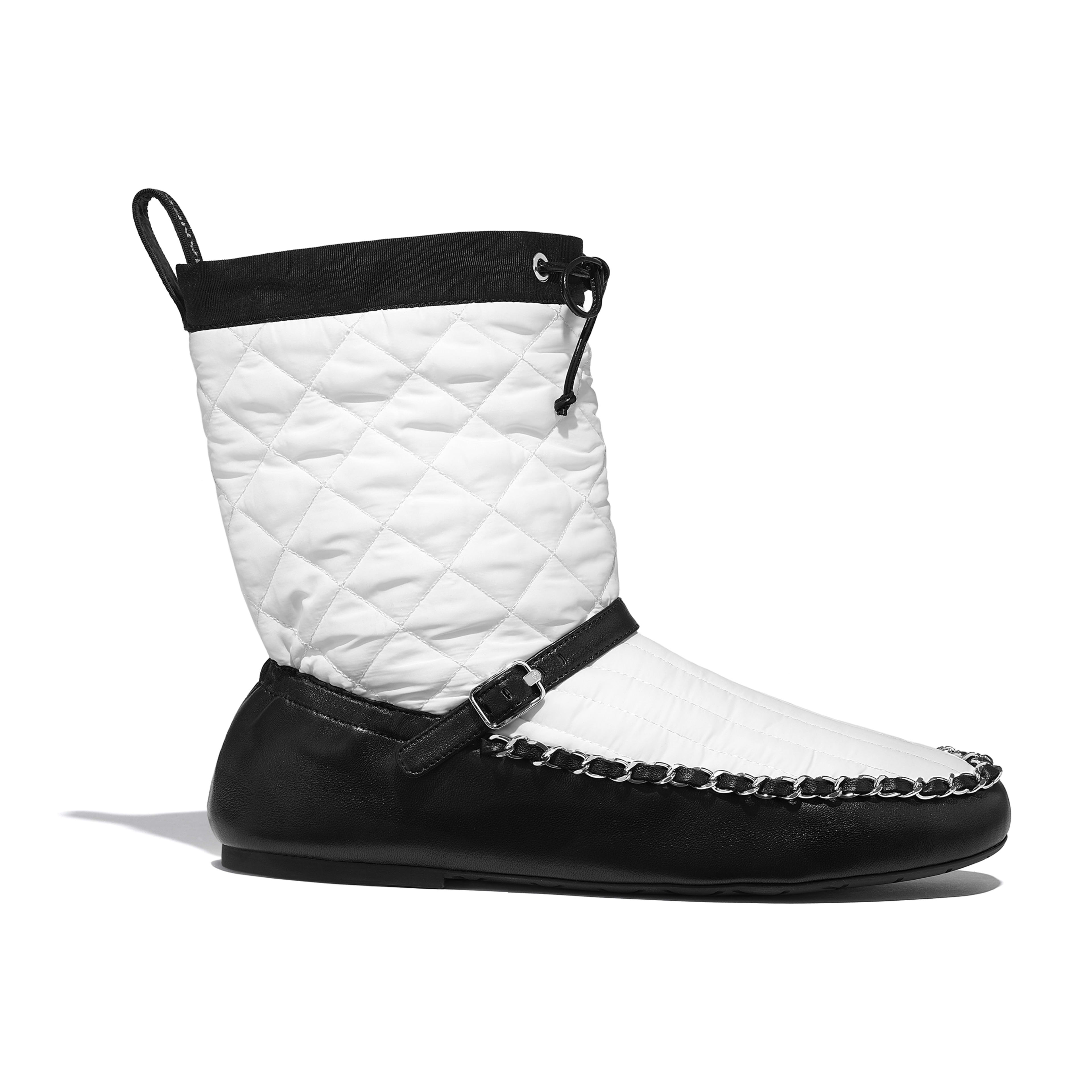 Ankle Boots - White & Black - Fabric & Lambskin - Default view - see full sized version