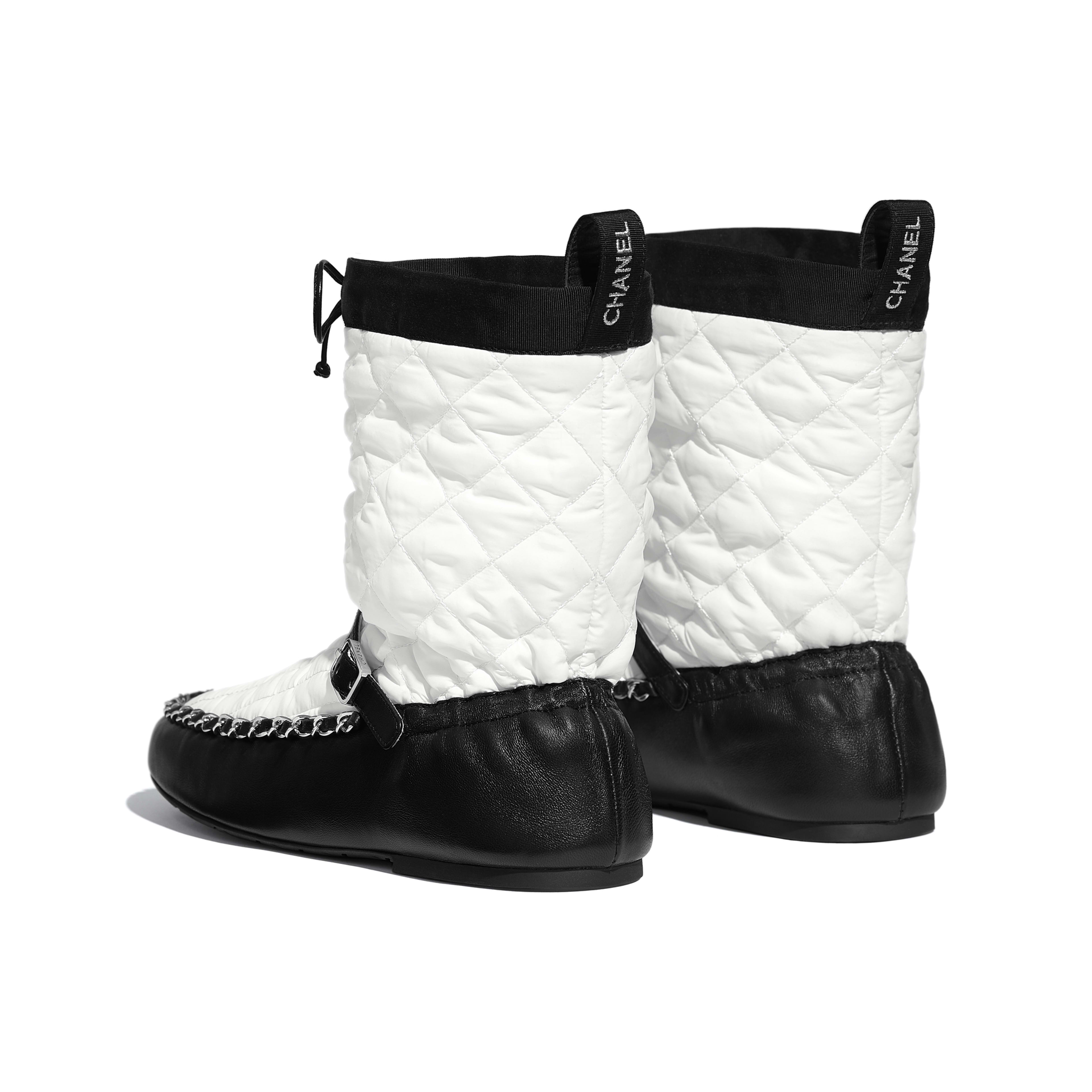 Ankle Boots - White & Black - Fabric & Lambskin - Other view - see full sized version