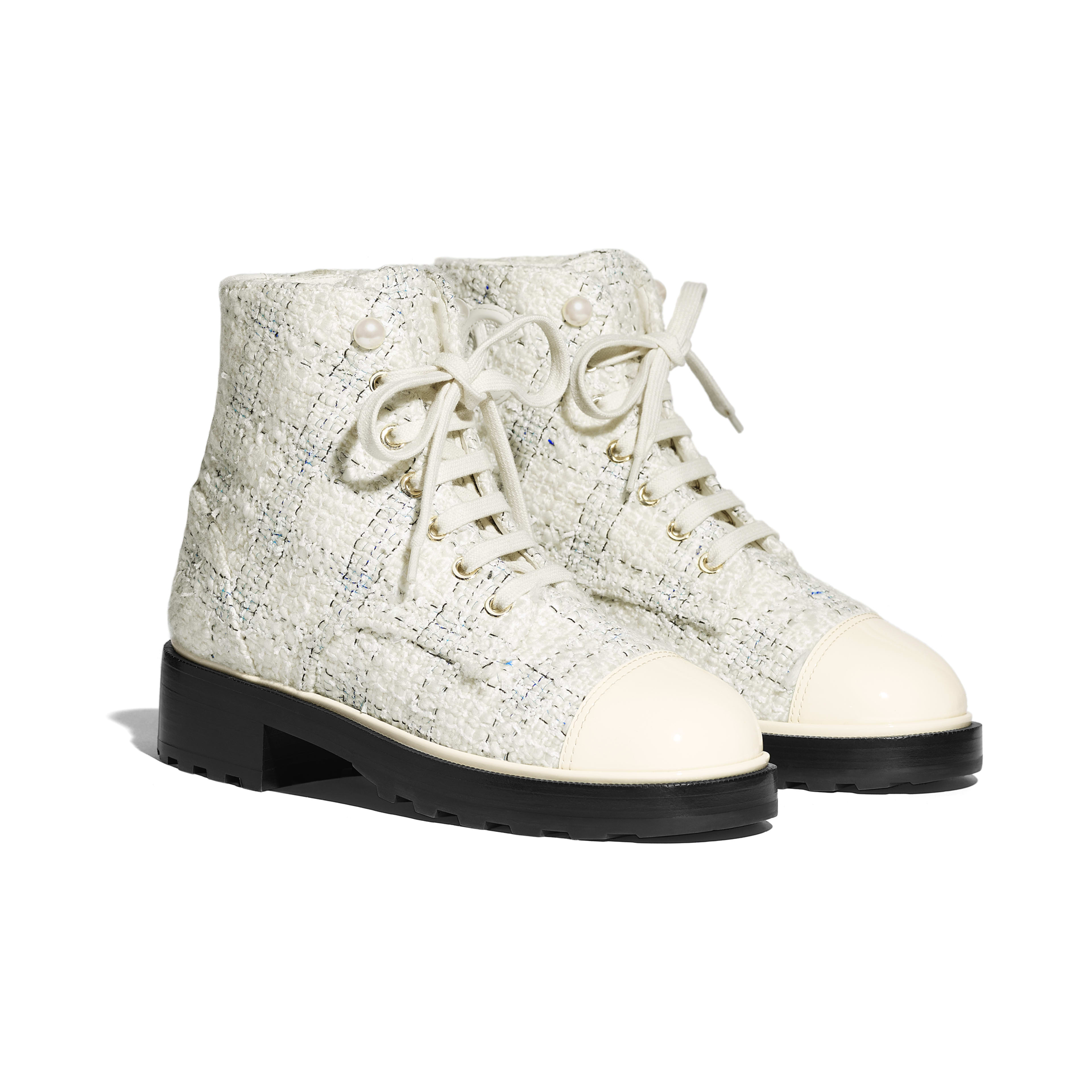Ankle Boots - White & Black - Tweed & Calfskin - Alternative view - see full sized version