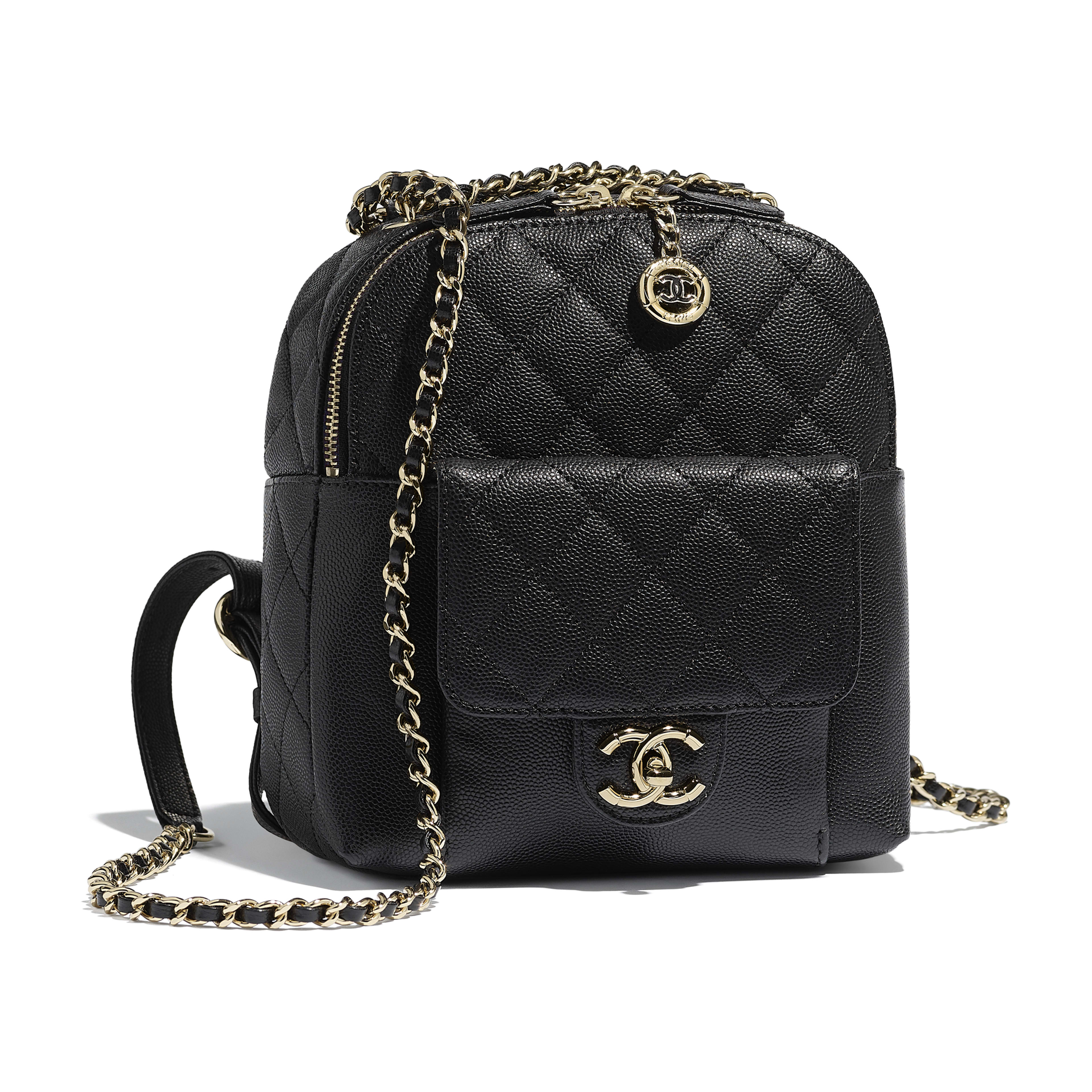 Backpack - Black - Grained Calfskin & Gold-Tone Metal - Default view - see full sized version