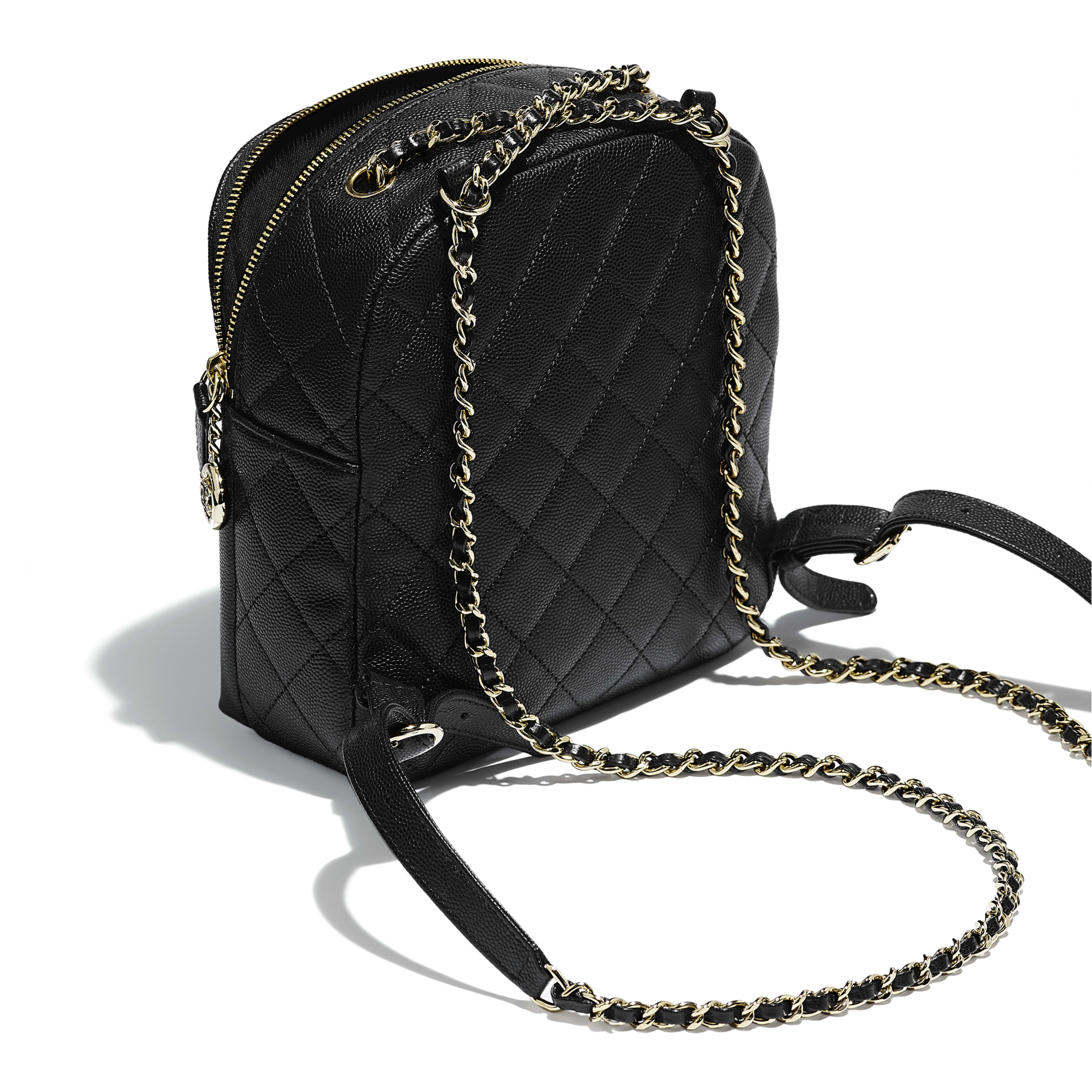 Backpack - Black - Grained Calfskin & Gold-Tone Metal - Other view - see full sized version