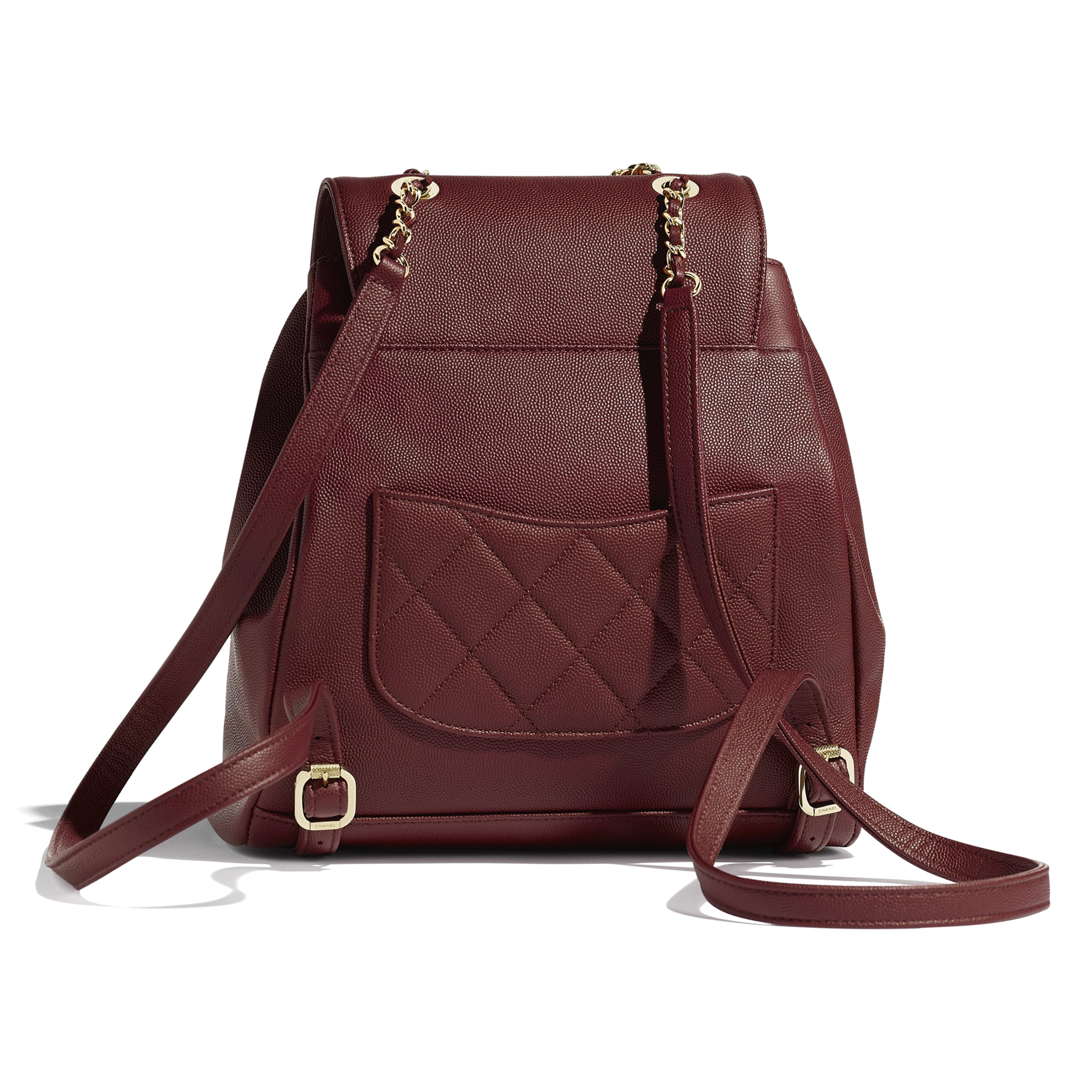 Backpack - Burgundy - Grained Calfskin & Gold-Tone Metal - Alternative view - see full sized version