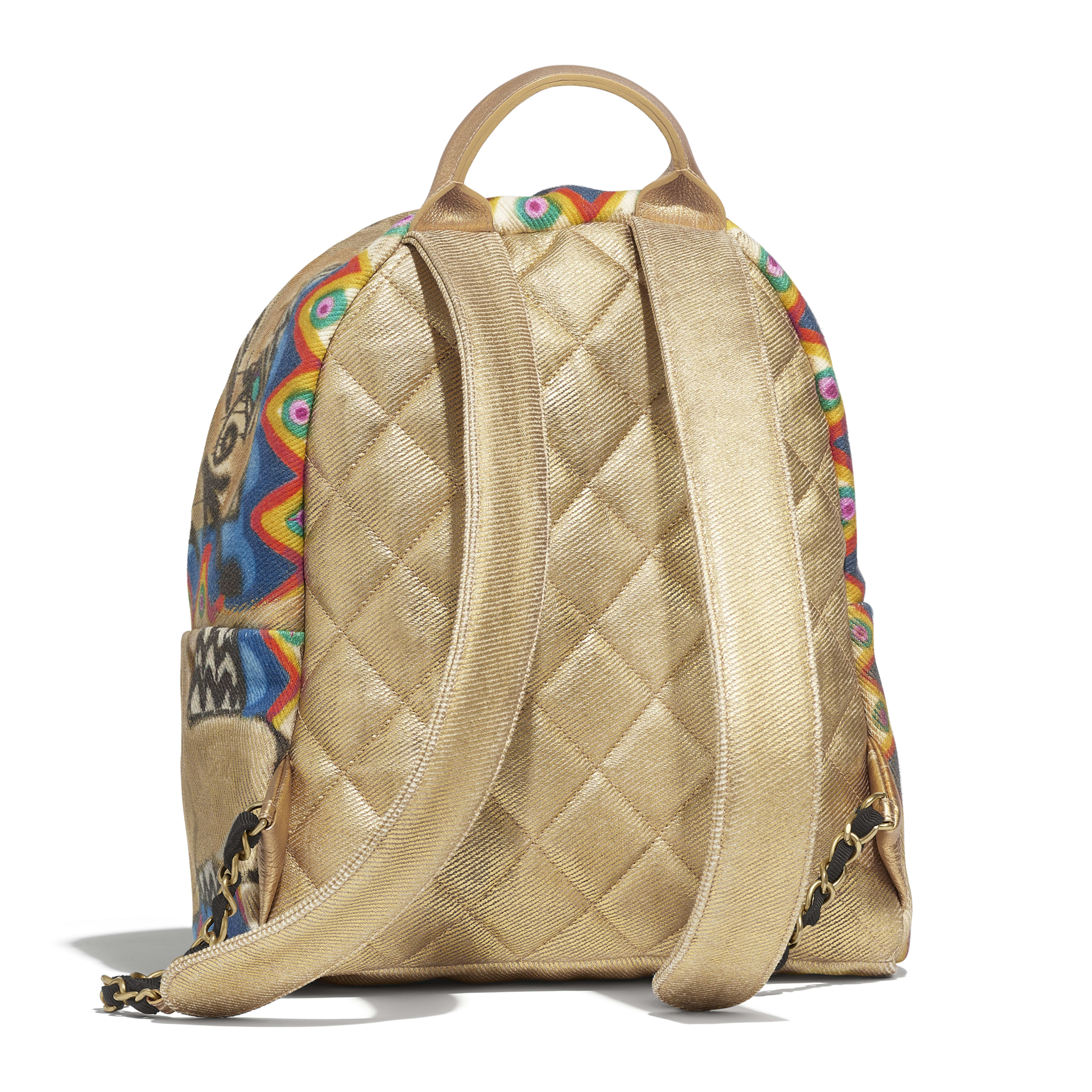 Backpack - Multicolor - Calfskin, Cotton & Gold-Tone Metal - Alternative view - see full sized version