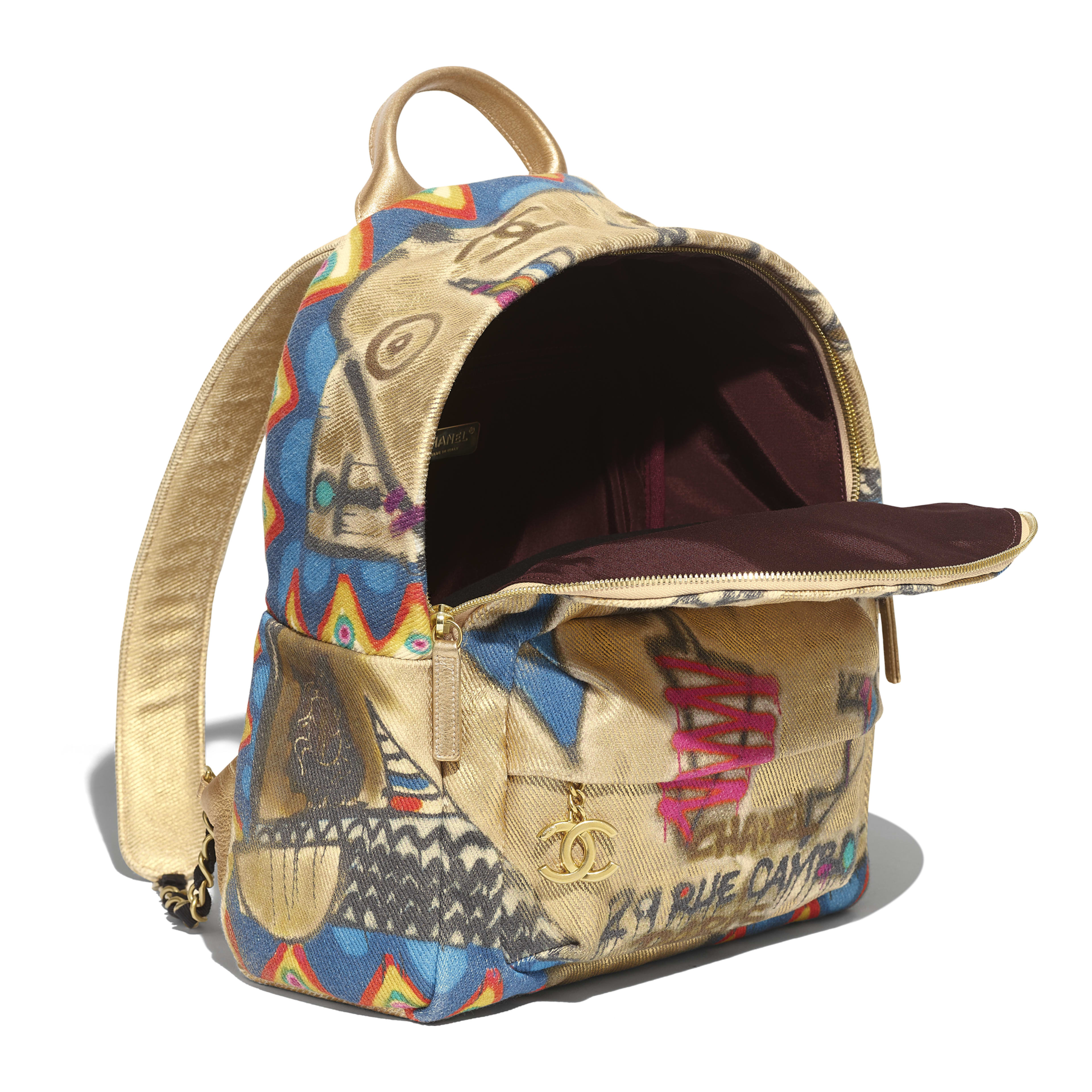 Backpack - Multicolor - Calfskin, Cotton & Gold-Tone Metal - Other view - see full sized version