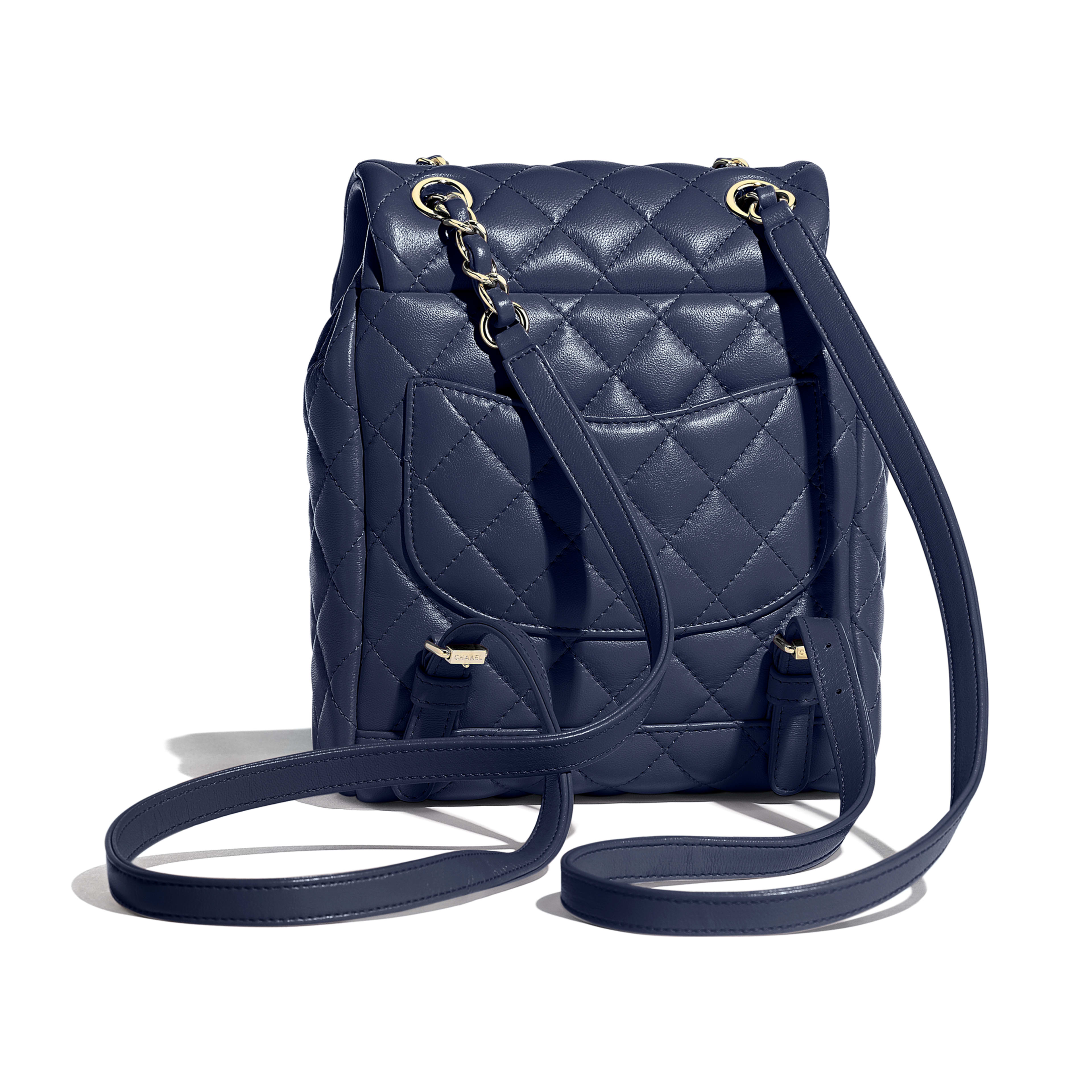 Backpack - Navy Blue - Lambskin & Gold-Tone Metal - Alternative view - see full sized version