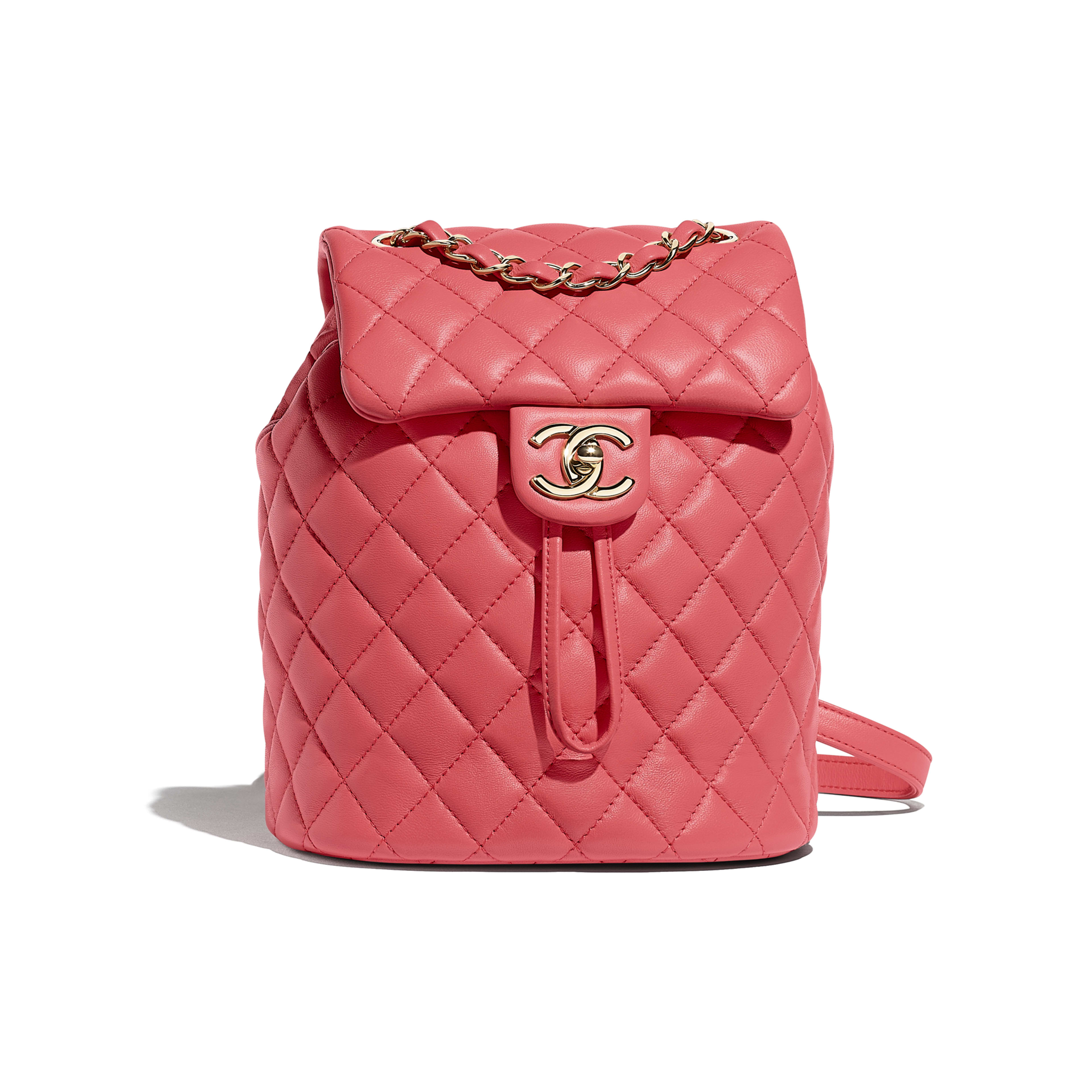 Backpack - Pink - Lambskin & Gold-Tone Metal - Default view - see full sized version