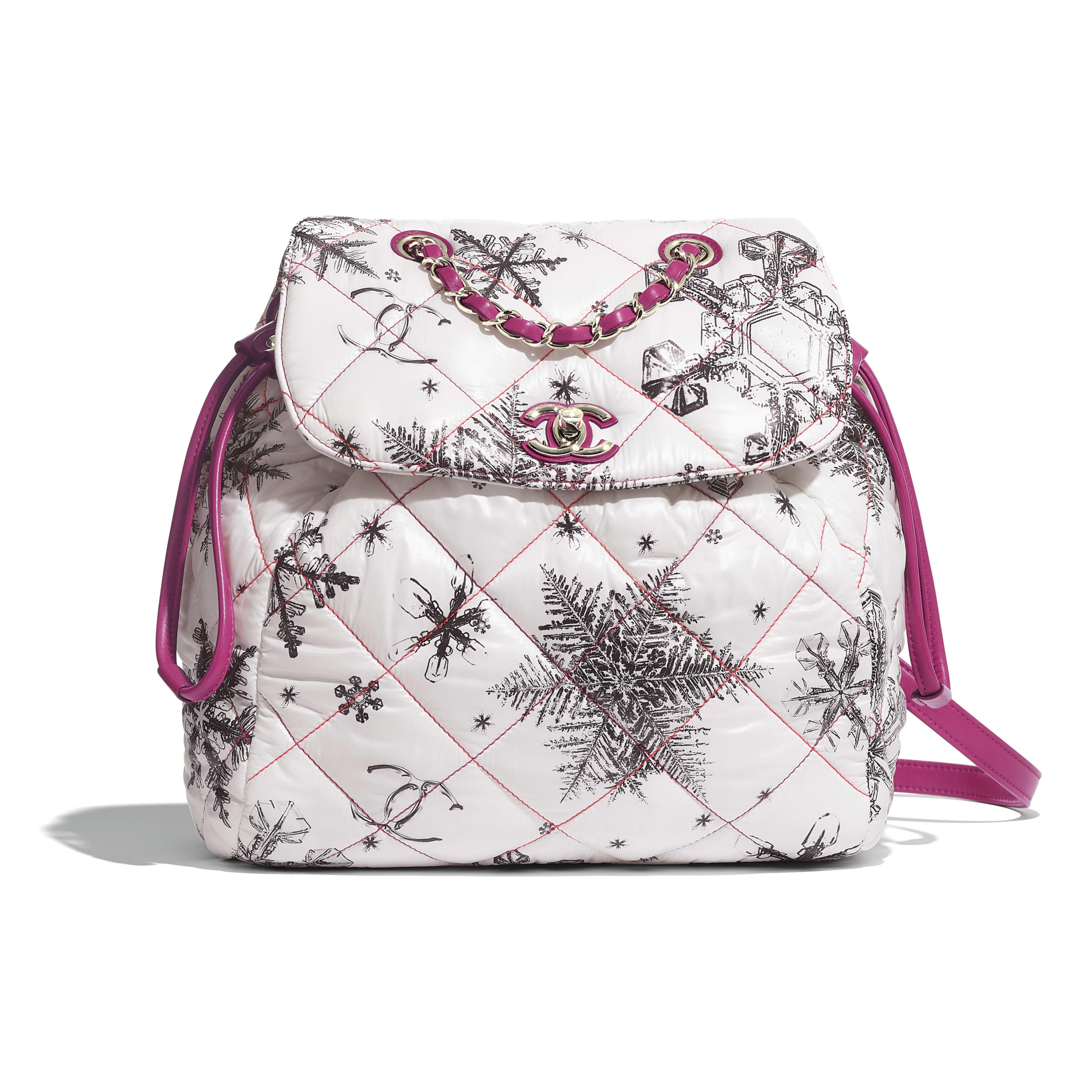 Рюкзак - Белый - Канва с принтом и золотистый металл - Вид по умолчанию - посмотреть полноразмерное изображение