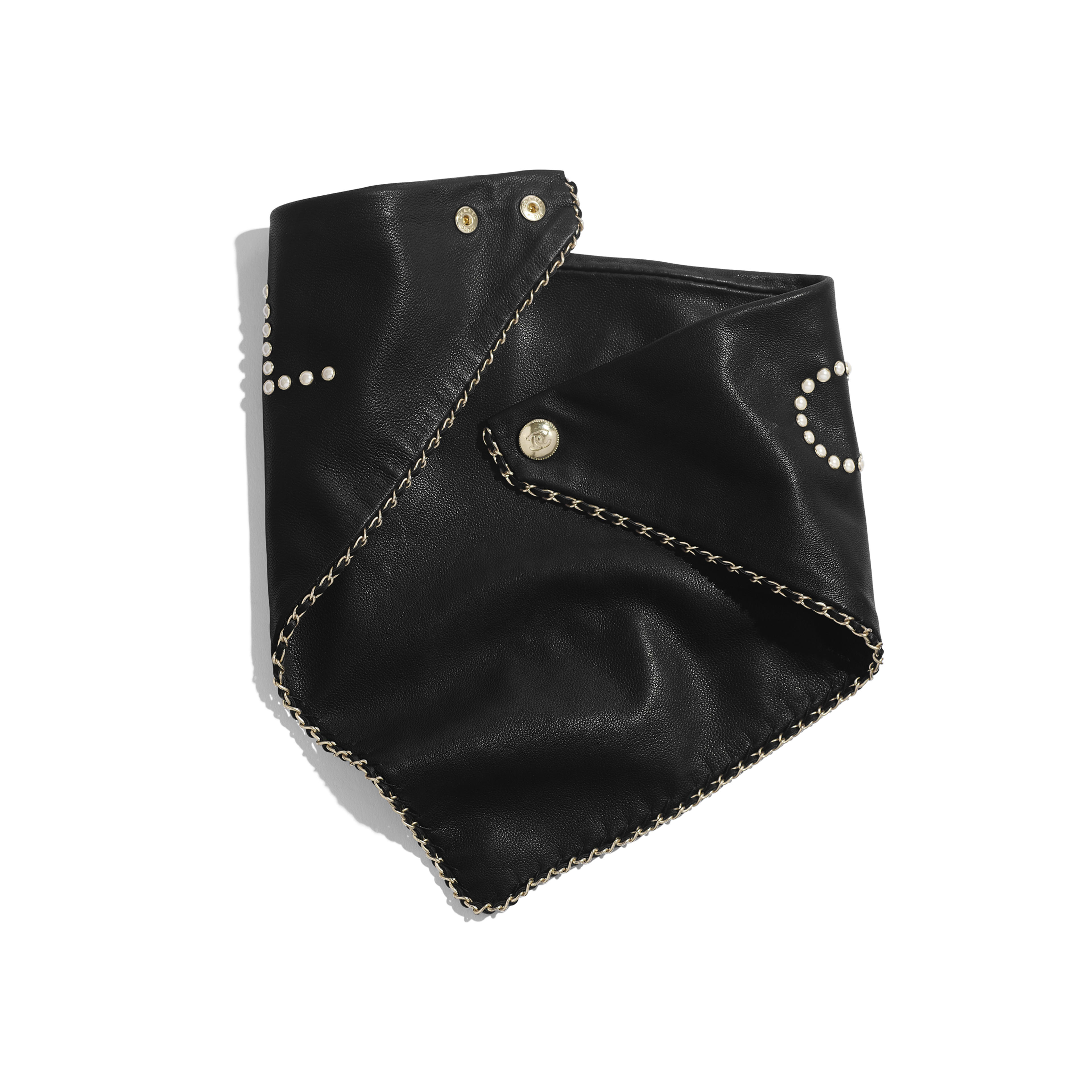 Bandana - Black & Pearly White - Glass Pearls & Gold-Tone Metal - Alternative view - see full sized version