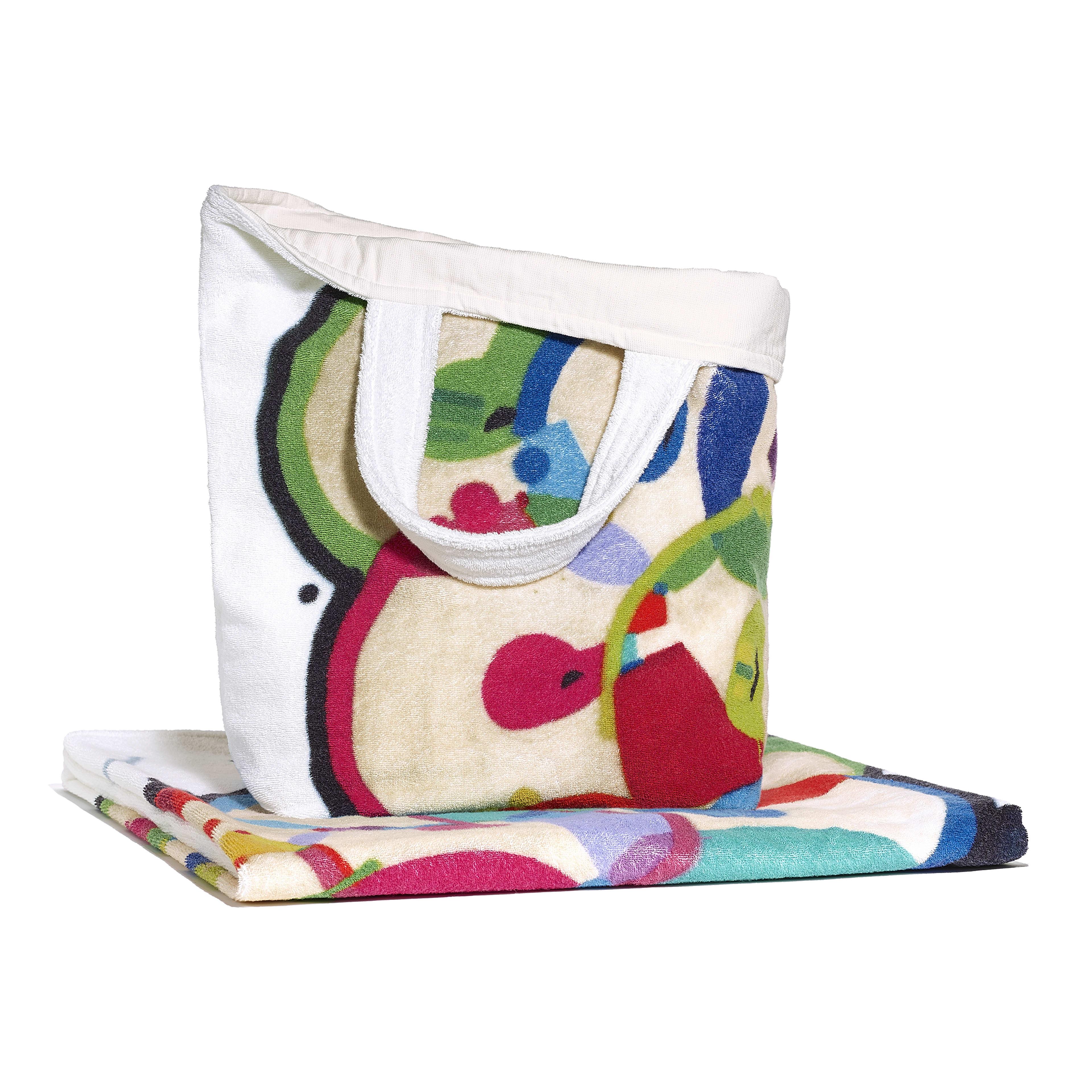 Beachwear Set - Ivory & Multicolour - Cotton - Alternative view - see full sized version