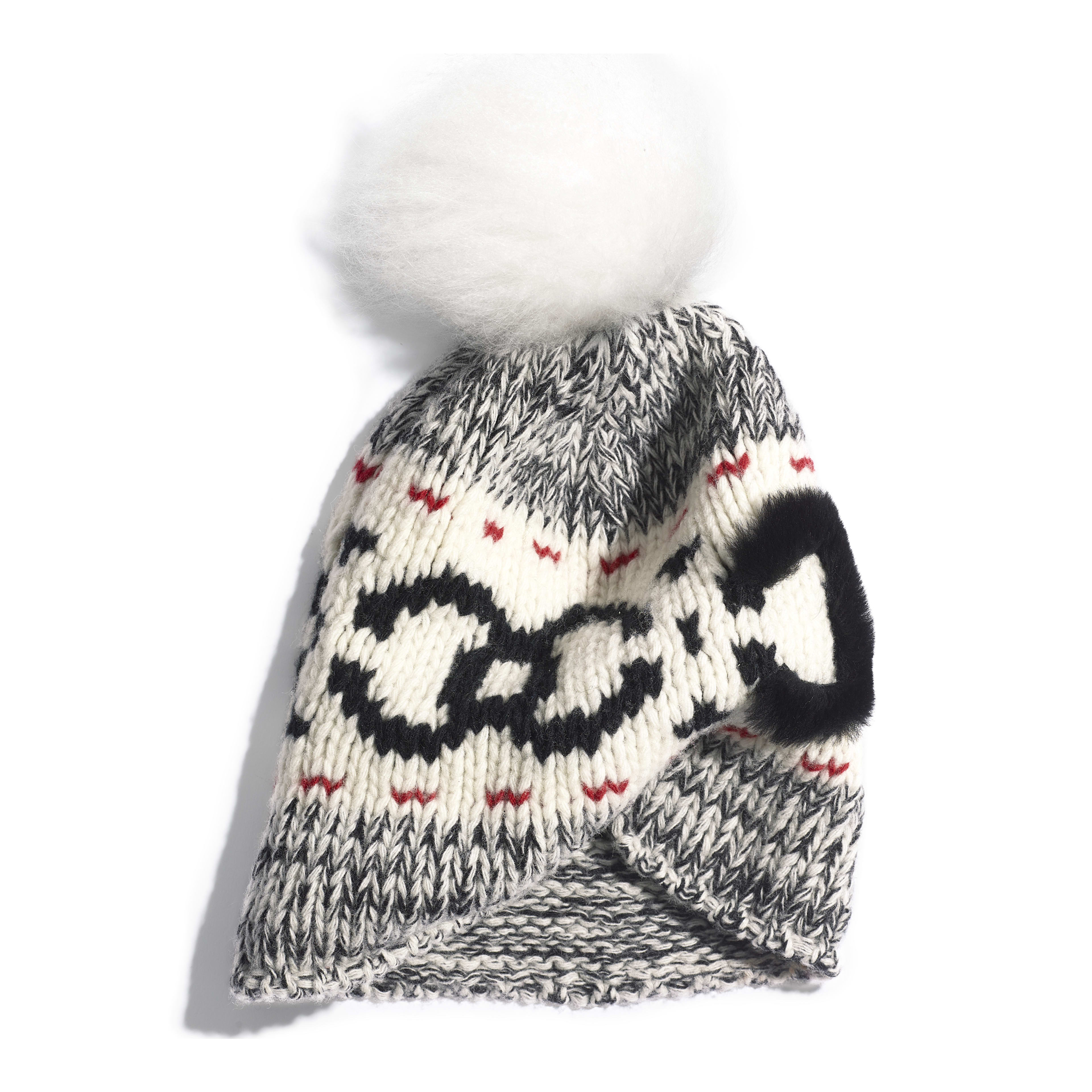 Beanie - Ivory, Black & Red - Wool & Shearling - Alternative view - see full sized version