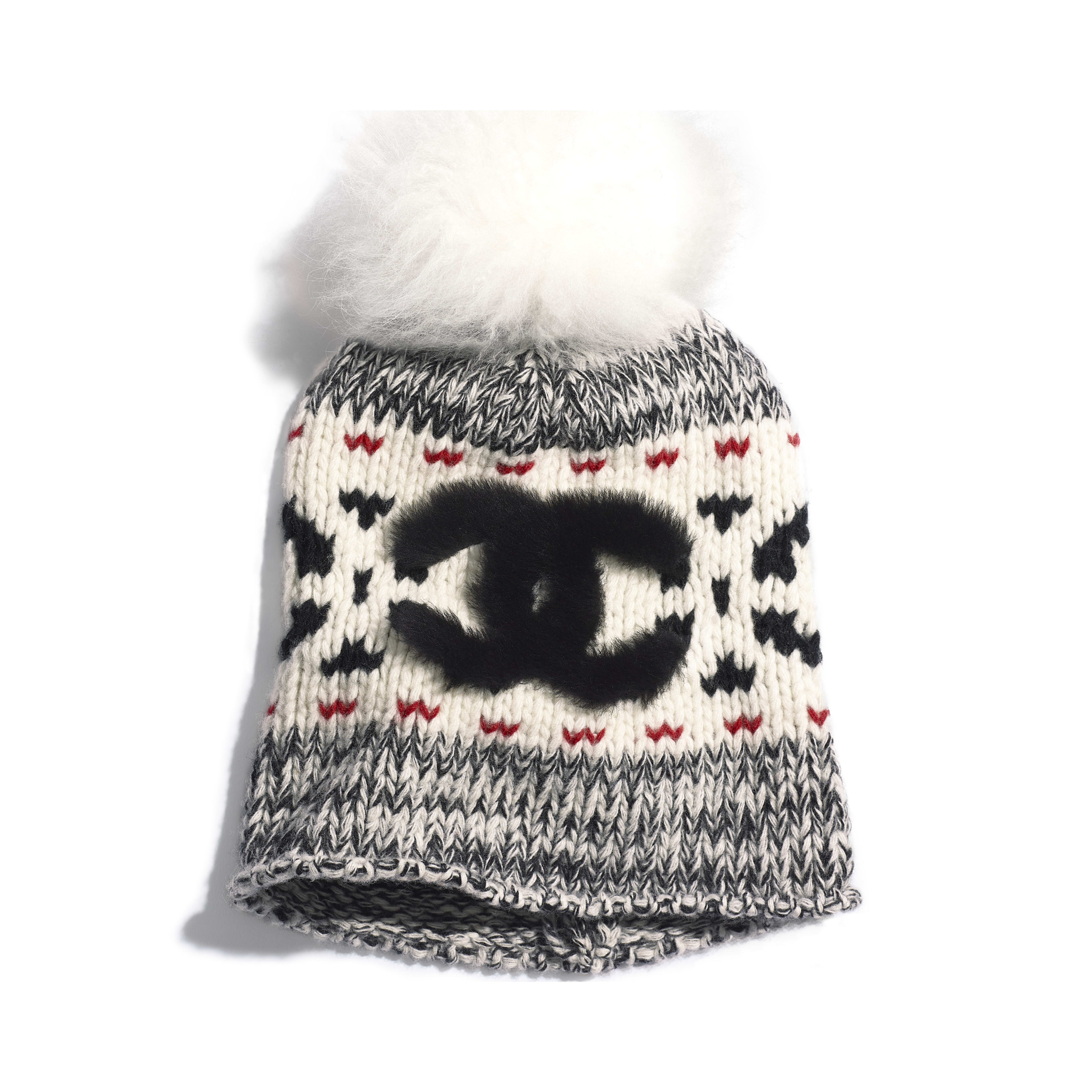 Beanie - Ivory, Black & Red - Wool & Shearling - Default view - see full sized version