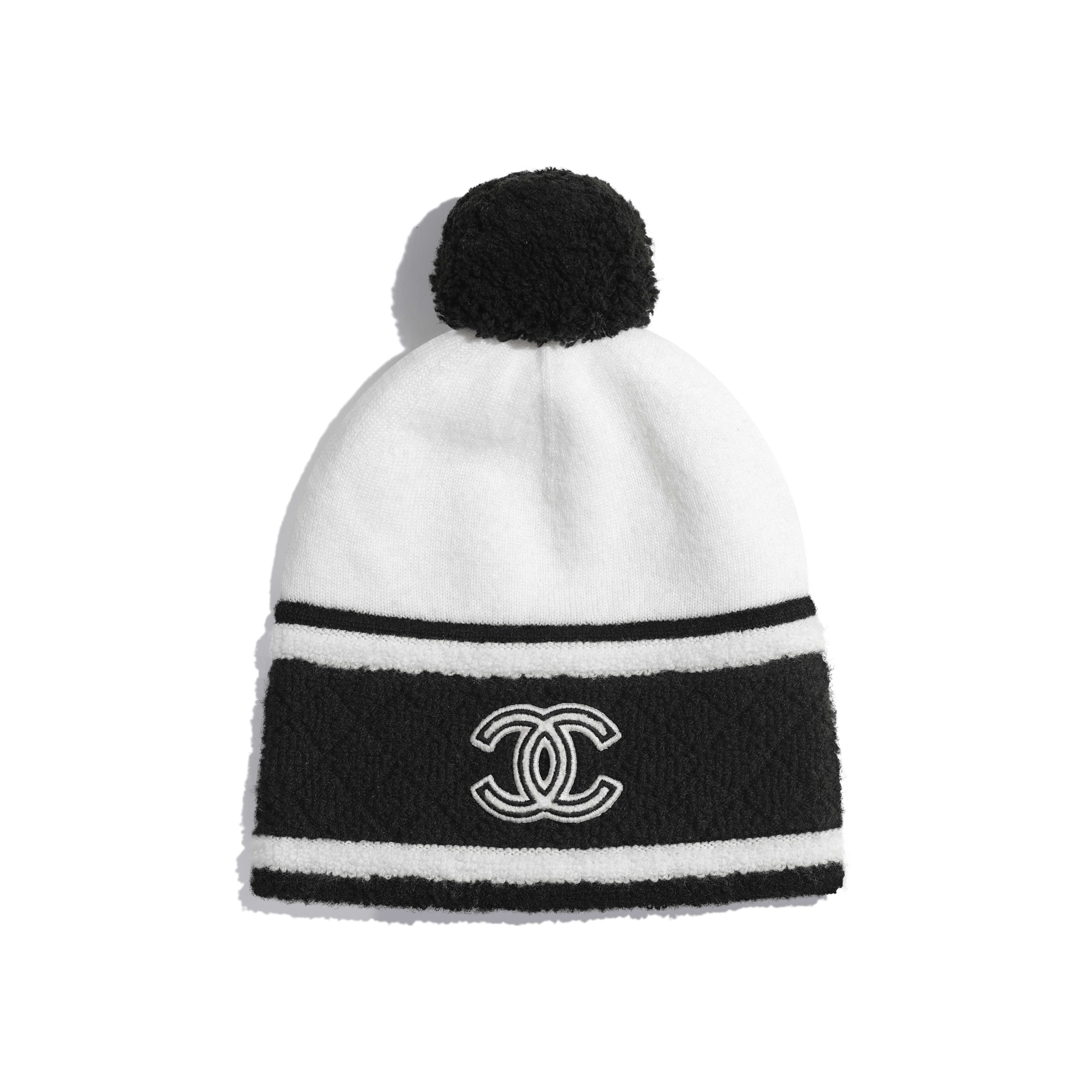 Beanie - White & Black - Cashmere - Default view - see full sized version