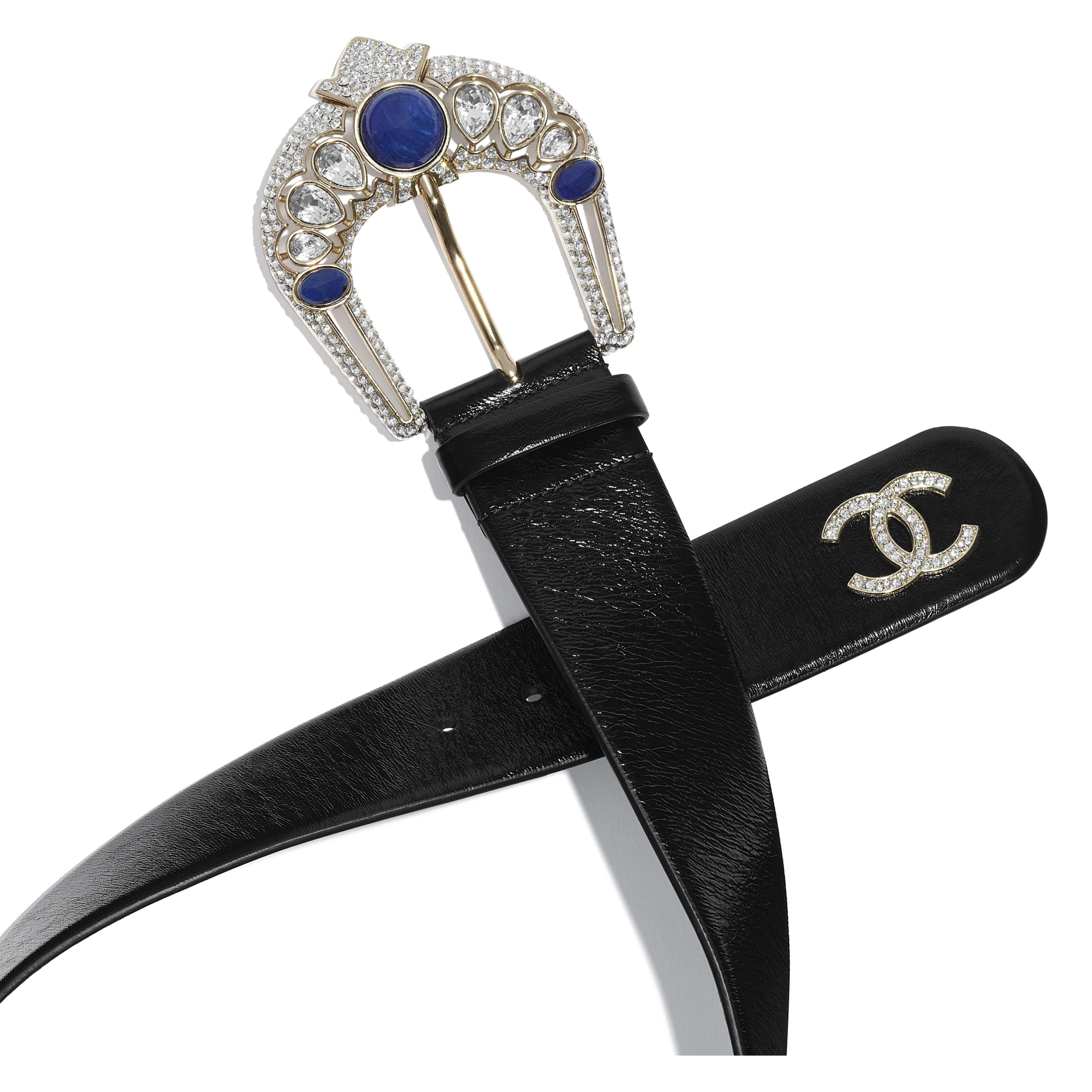 Belt - Black & Blue - Calfskin, Gold-Tone Metal, Strass & Resin - Alternative view - see full sized version