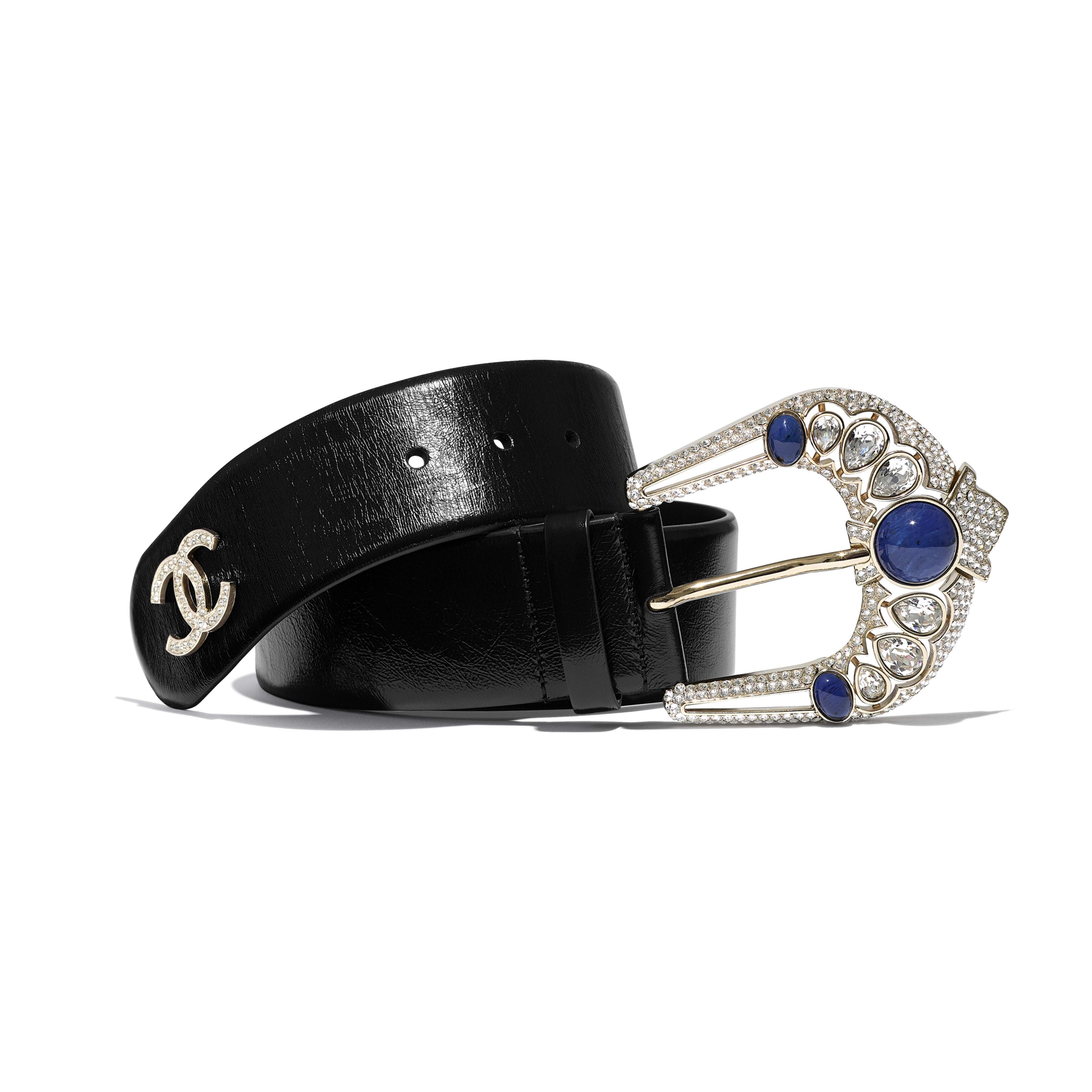 Belt - Black & Blue - Calfskin, Gold-Tone Metal, Strass & Resin - Default view - see full sized version