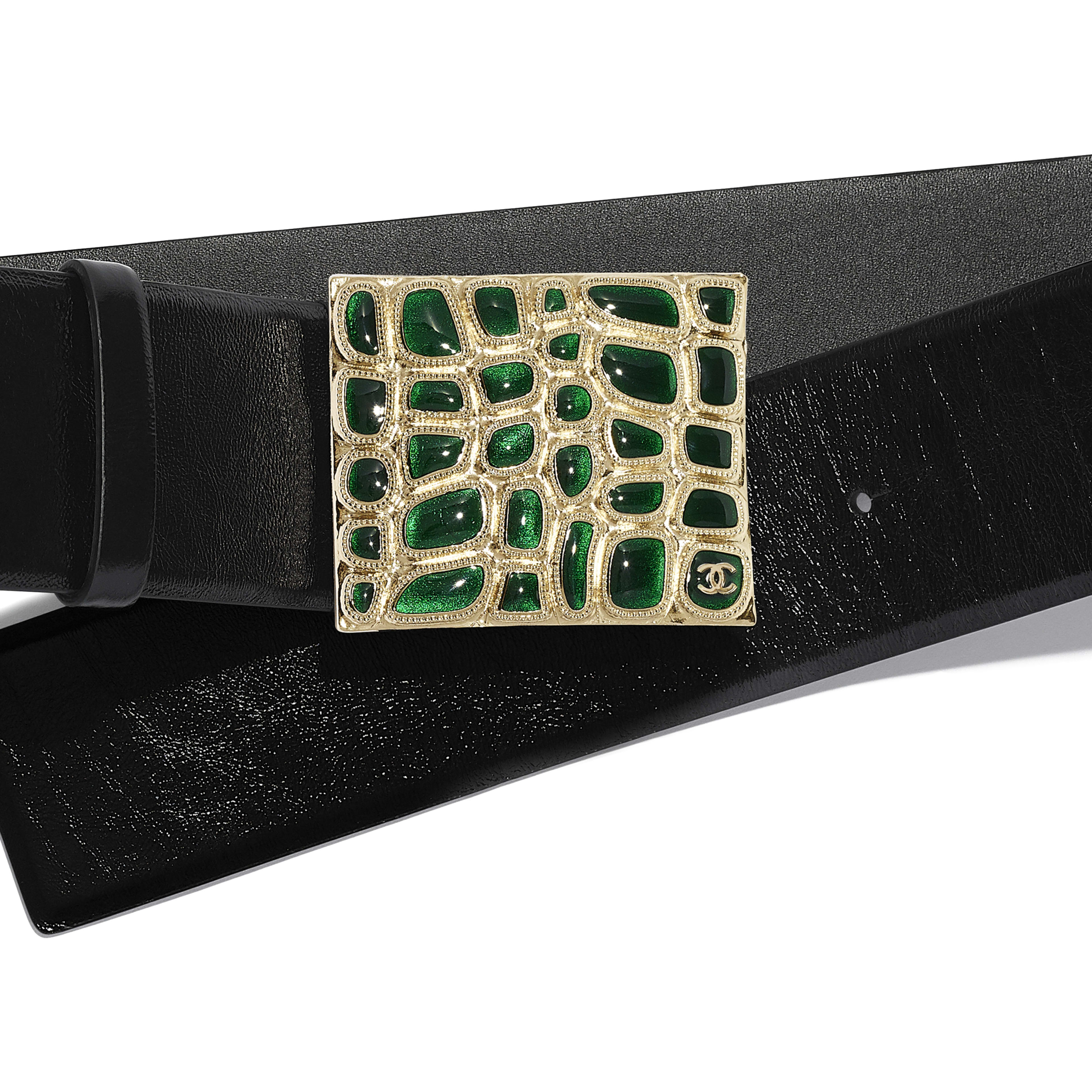 Belt - Black & Green - Calfskin, Gold-Tone Metal & Resin - Alternative view - see full sized version