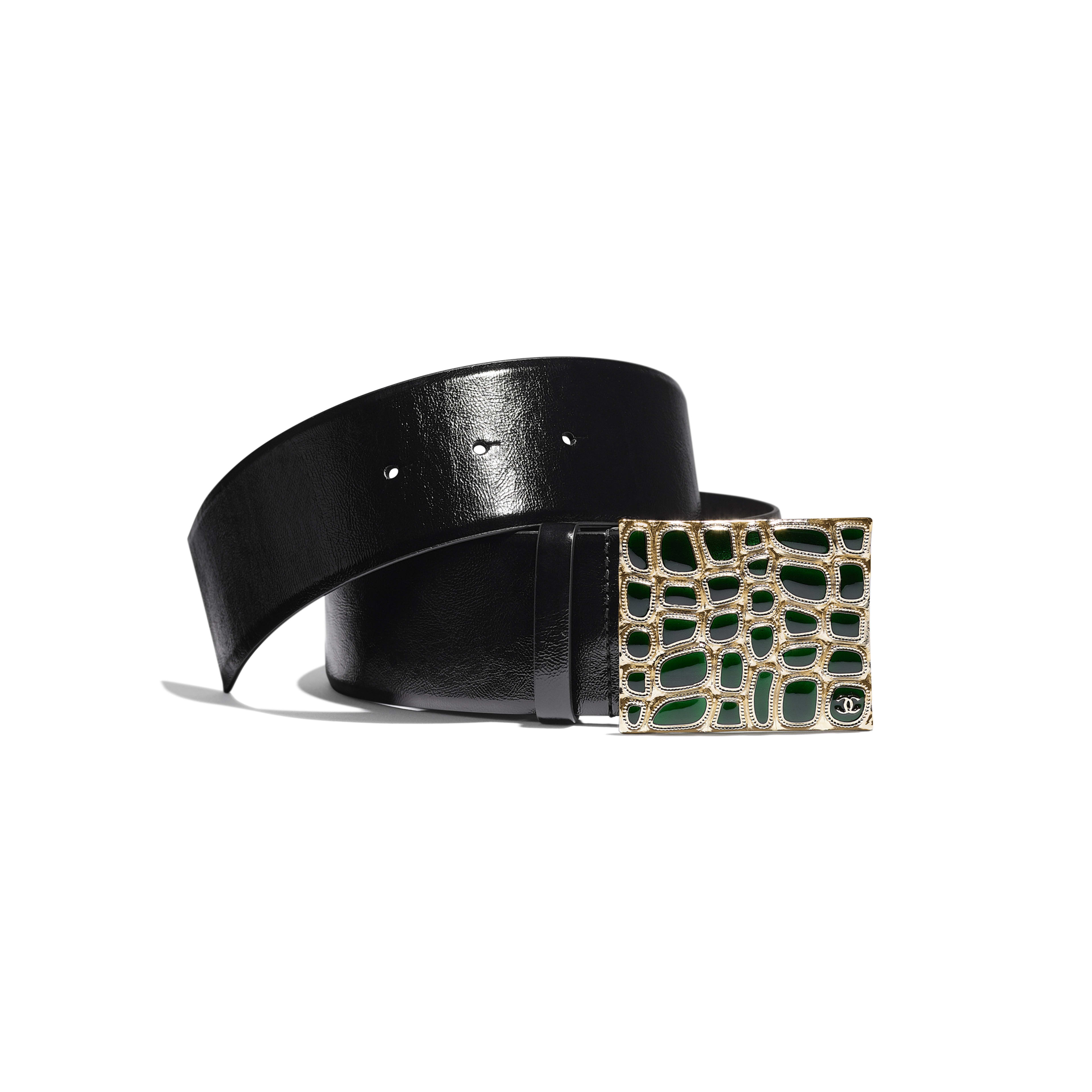 Belt - Black & Green - Calfskin, Gold-Tone Metal & Resin - Default view - see full sized version
