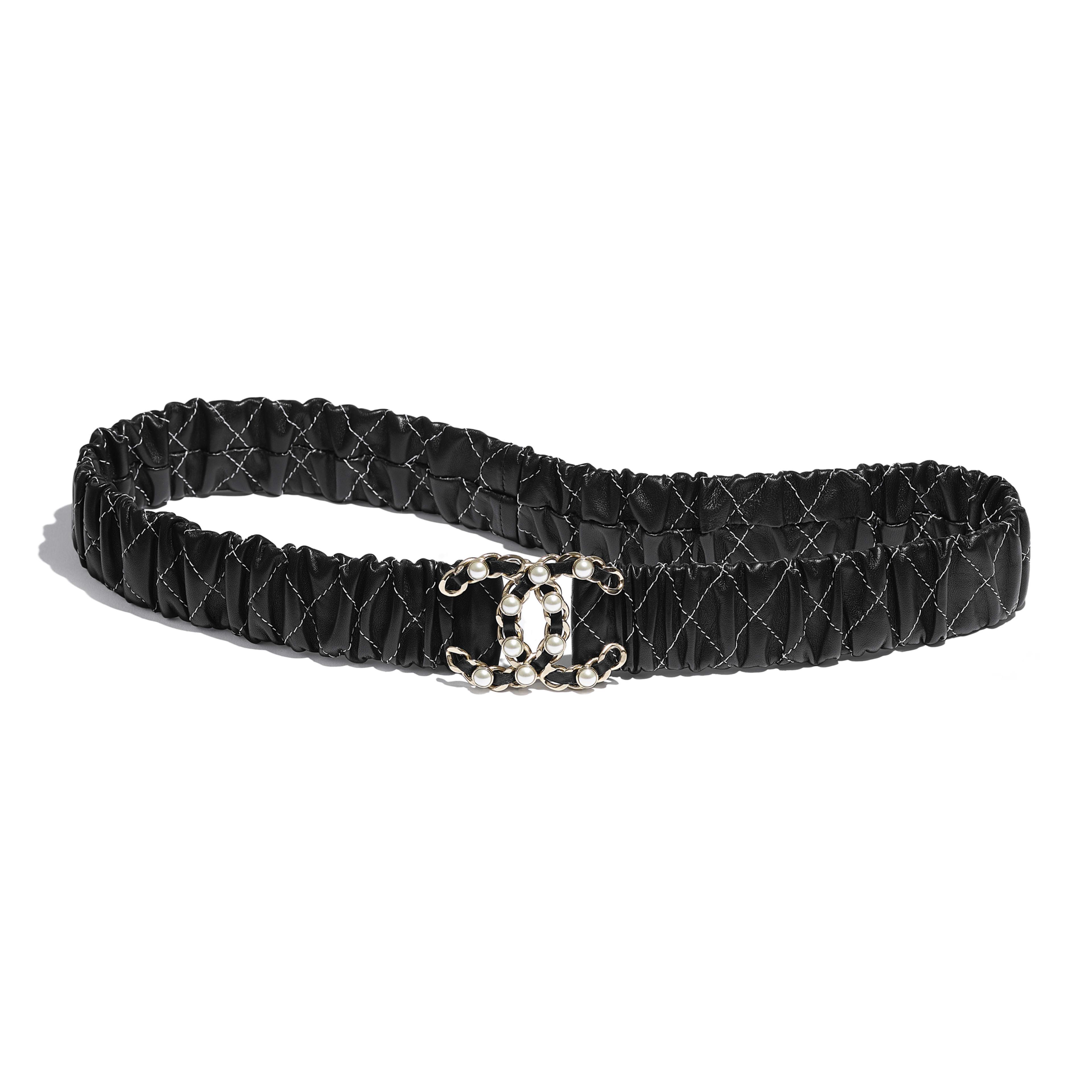 Belt - Black - Lambskin, Gold-Tone Metal & Glass Pearls - Default view - see full sized version