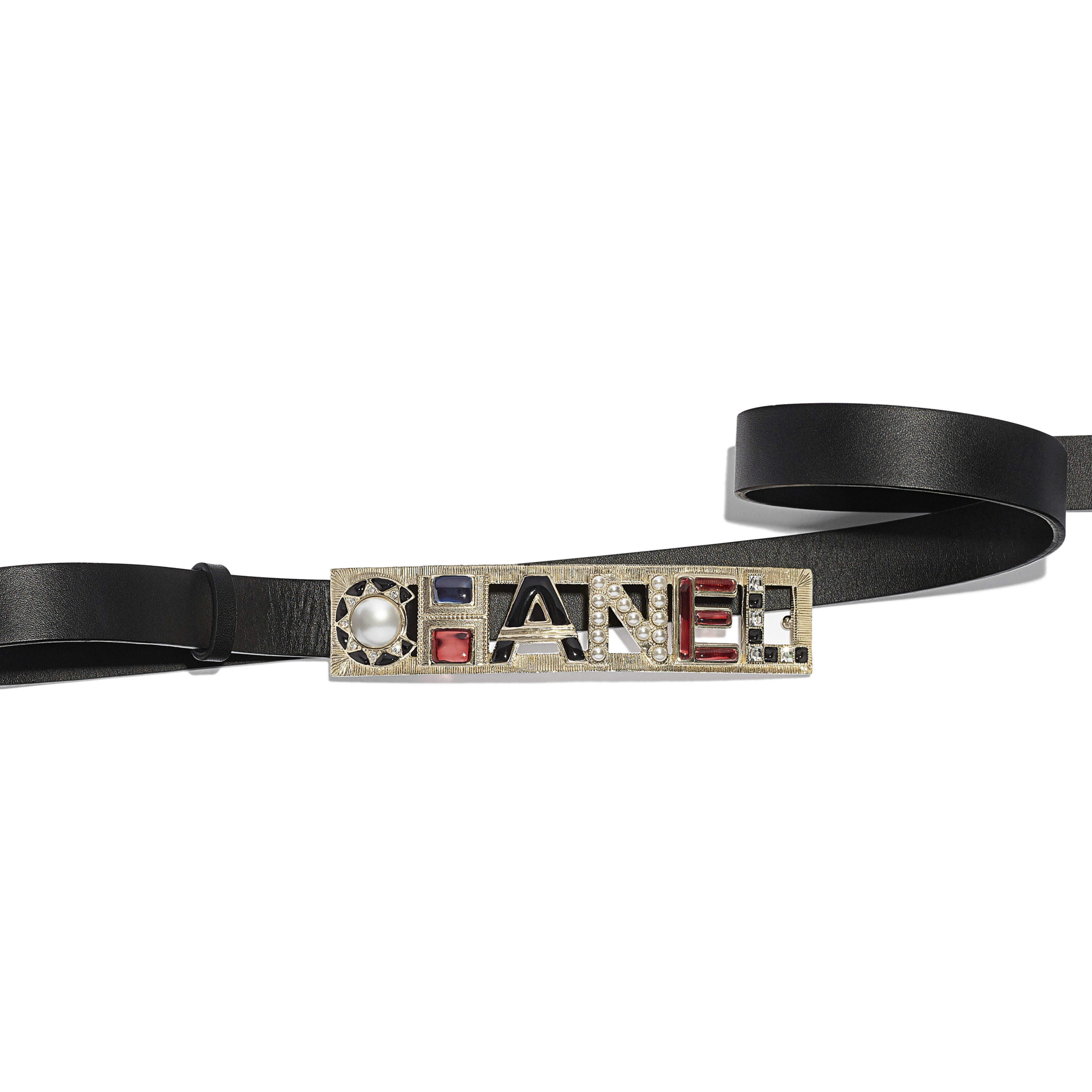 Belt - Black & Red - Calfskin, Gold-Tone Metal, Strass, Glass & Resin - Alternative view - see full sized version