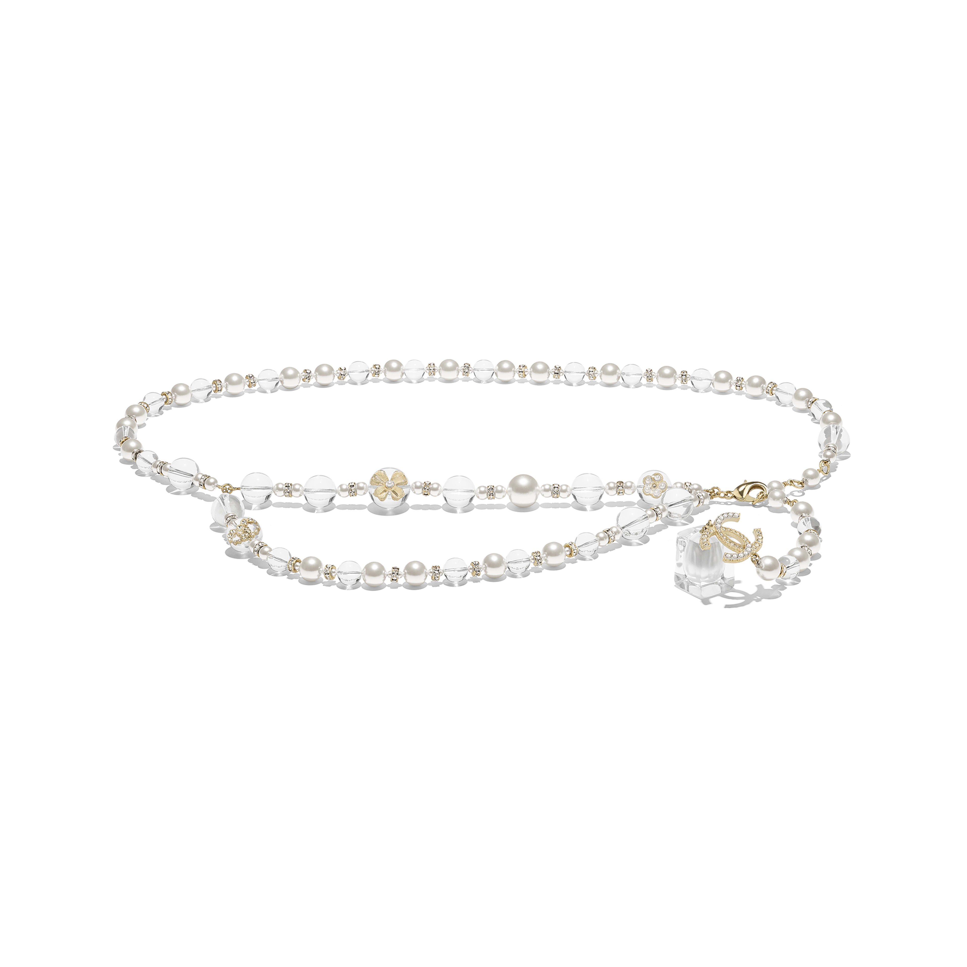 Belt - Gold, Pearly White, Crystal & Transparent - Metal, Glass Pearls, Imitation Pearls, Strass & Resin - Default view - see full sized version