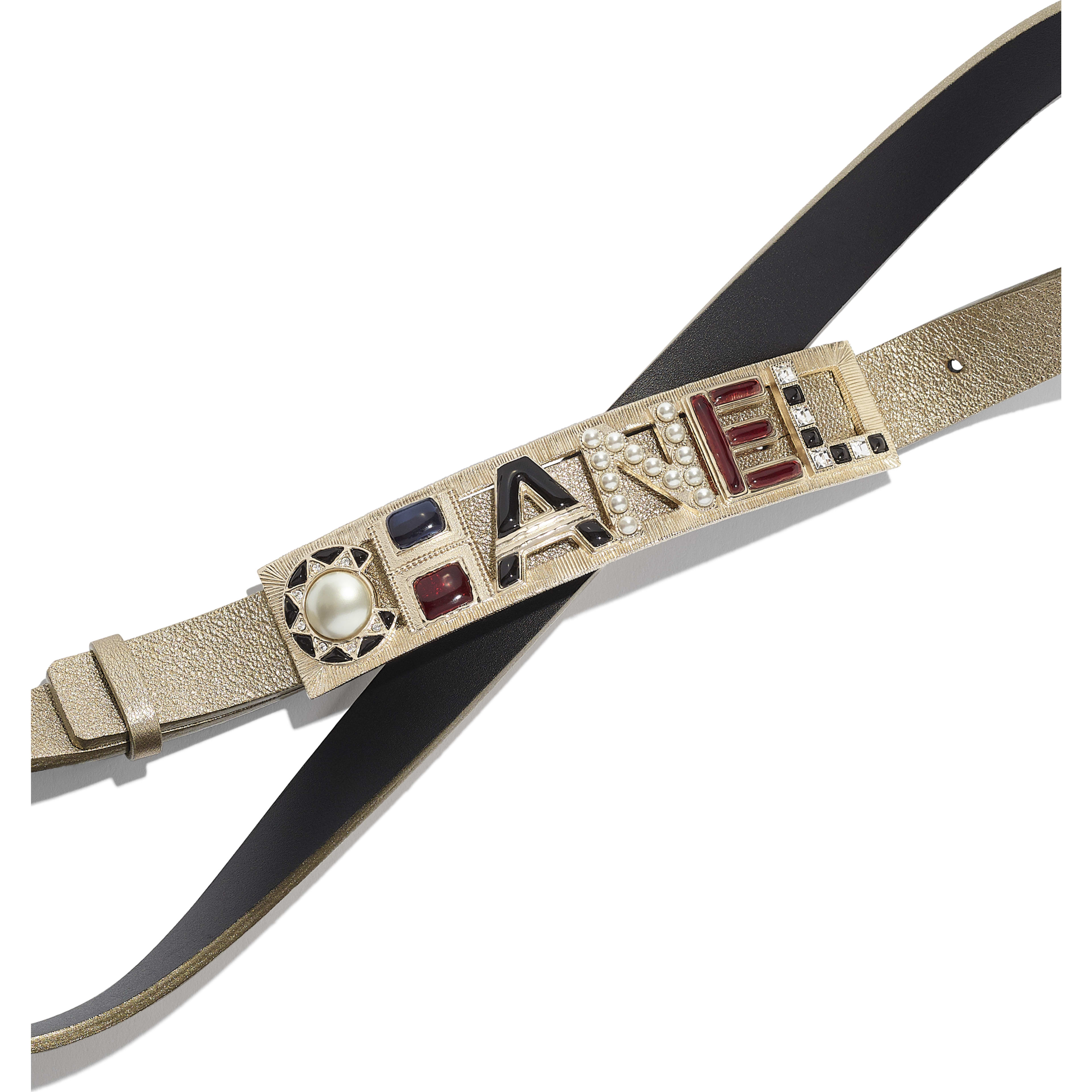 Belt - Gold & Red - Lambskin, Gold-Tone Metal, Glass, Strass & Resin - Alternative view - see full sized version