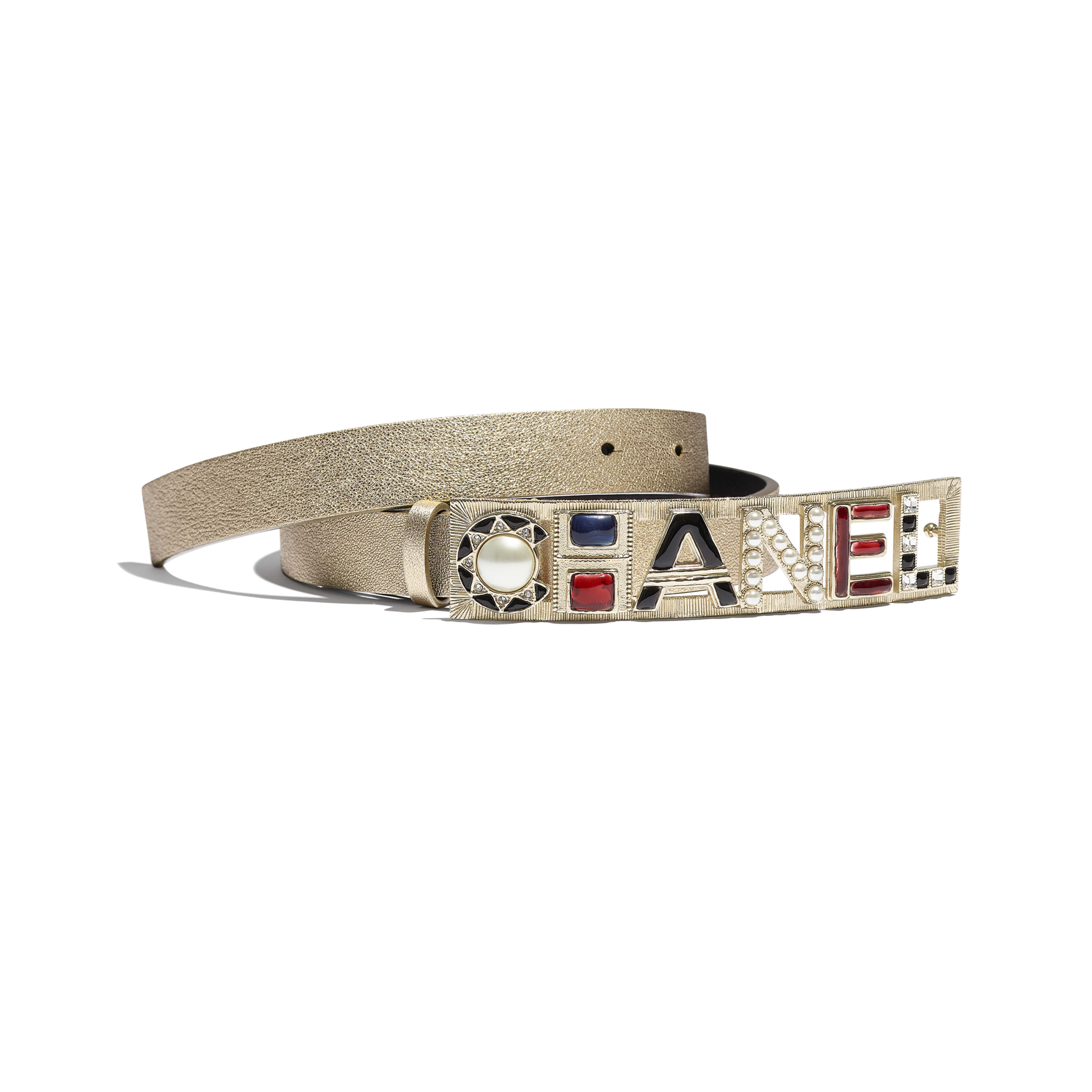 Belt - Gold & Red - Lambskin, Gold-Tone Metal, Glass, Strass & Resin - Default view - see full sized version