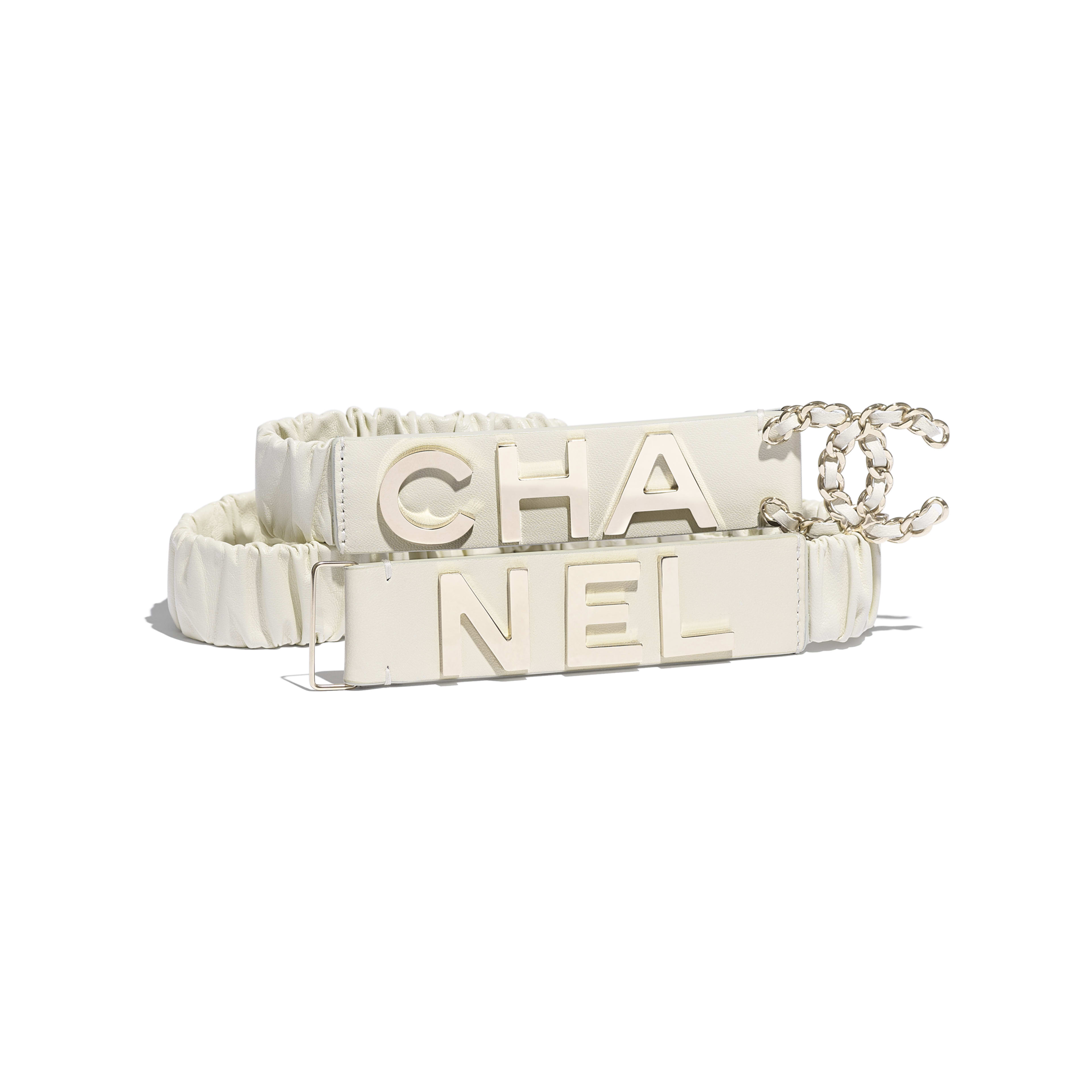 Belt - Ivory - Lambskin & Gold-Tone Metal - Default view - see full sized version