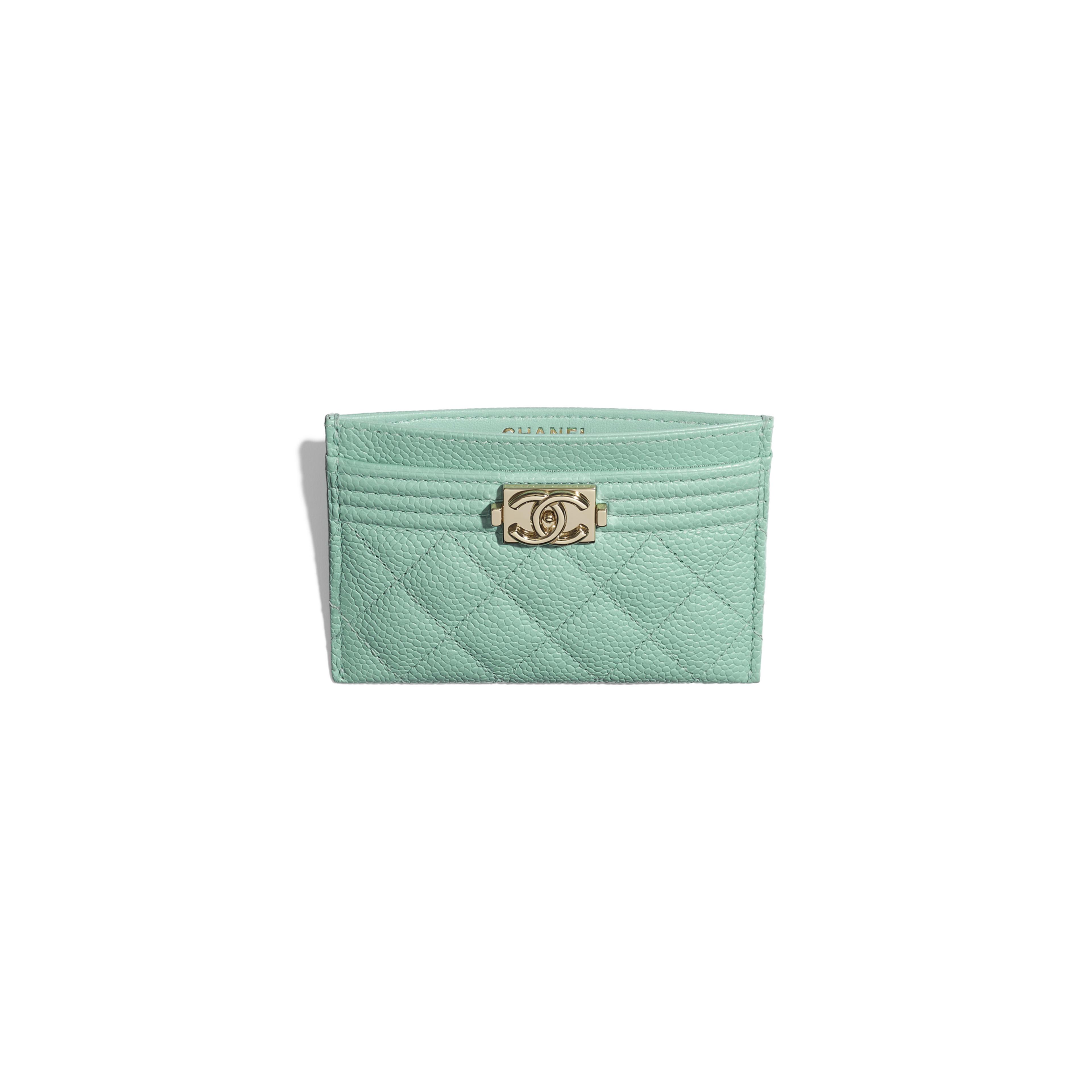 กระเป๋านามบัตร BOY CHANEL - สีฟ้า - หนังลูกวัวลายเกรน, โลหะสีทอง - มุมมองอื่น - ดูเวอร์ชันขนาดเต็ม